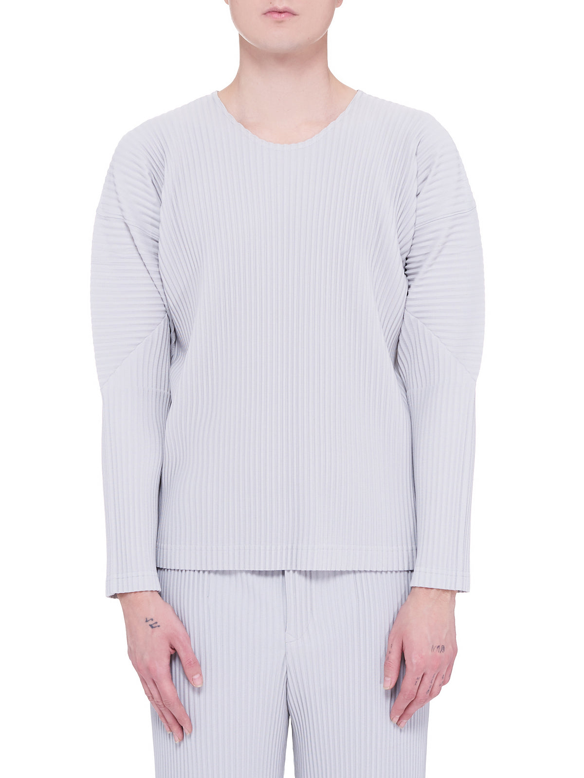 Pleated Long-Sleeve Top (HP16JK021-LIGHT-GREY)