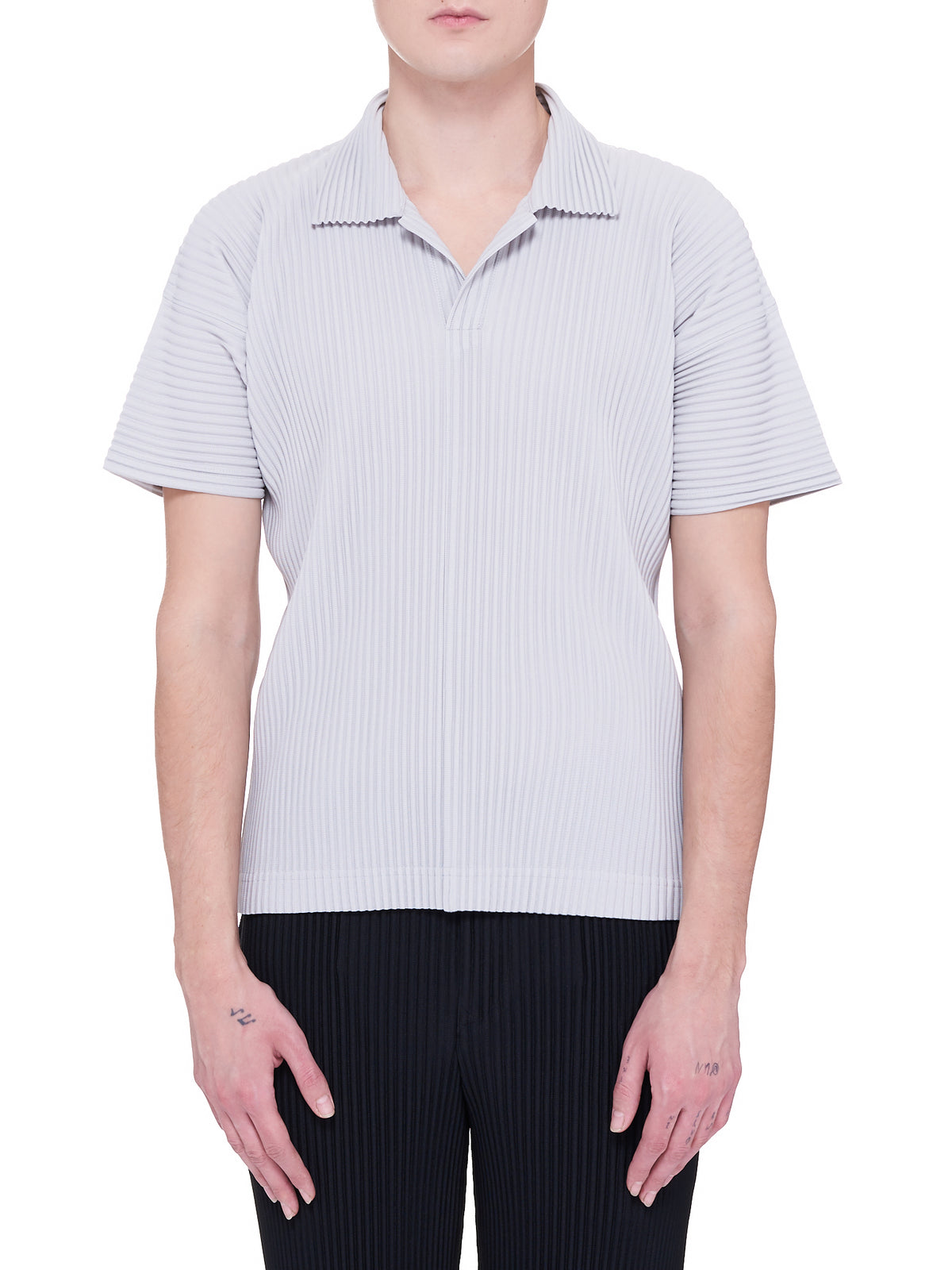 Pleated Polo Top (HP16JM030-LIGHT-GREY)