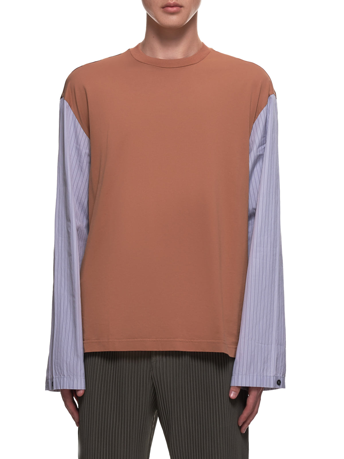 Pinstripe Long Sleeve T-Shirt (HUMU0181Q0-Y4398)