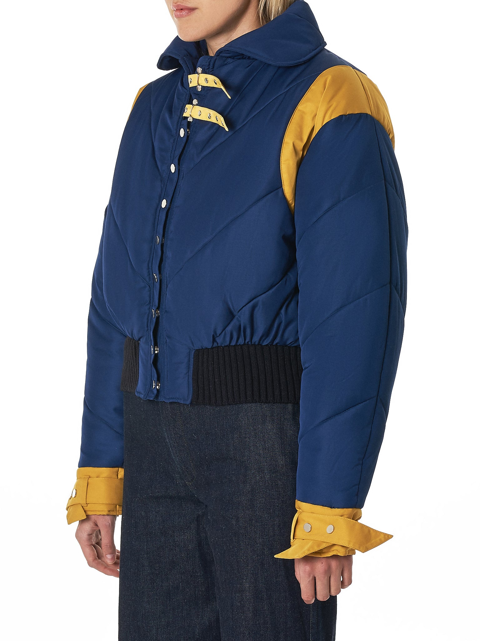 Quilted Colorblock Jacket (HW3186002-NAVY-YELLOW)