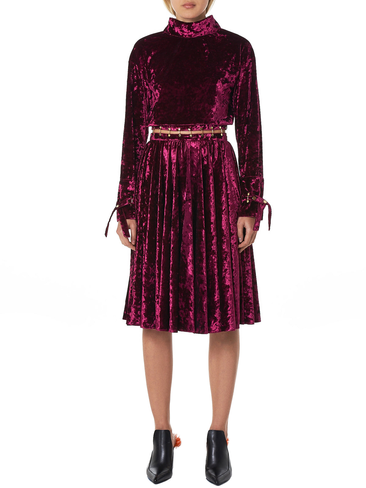 Mottled Velvet Open Waist Dress (HW3188004-PURPLE)