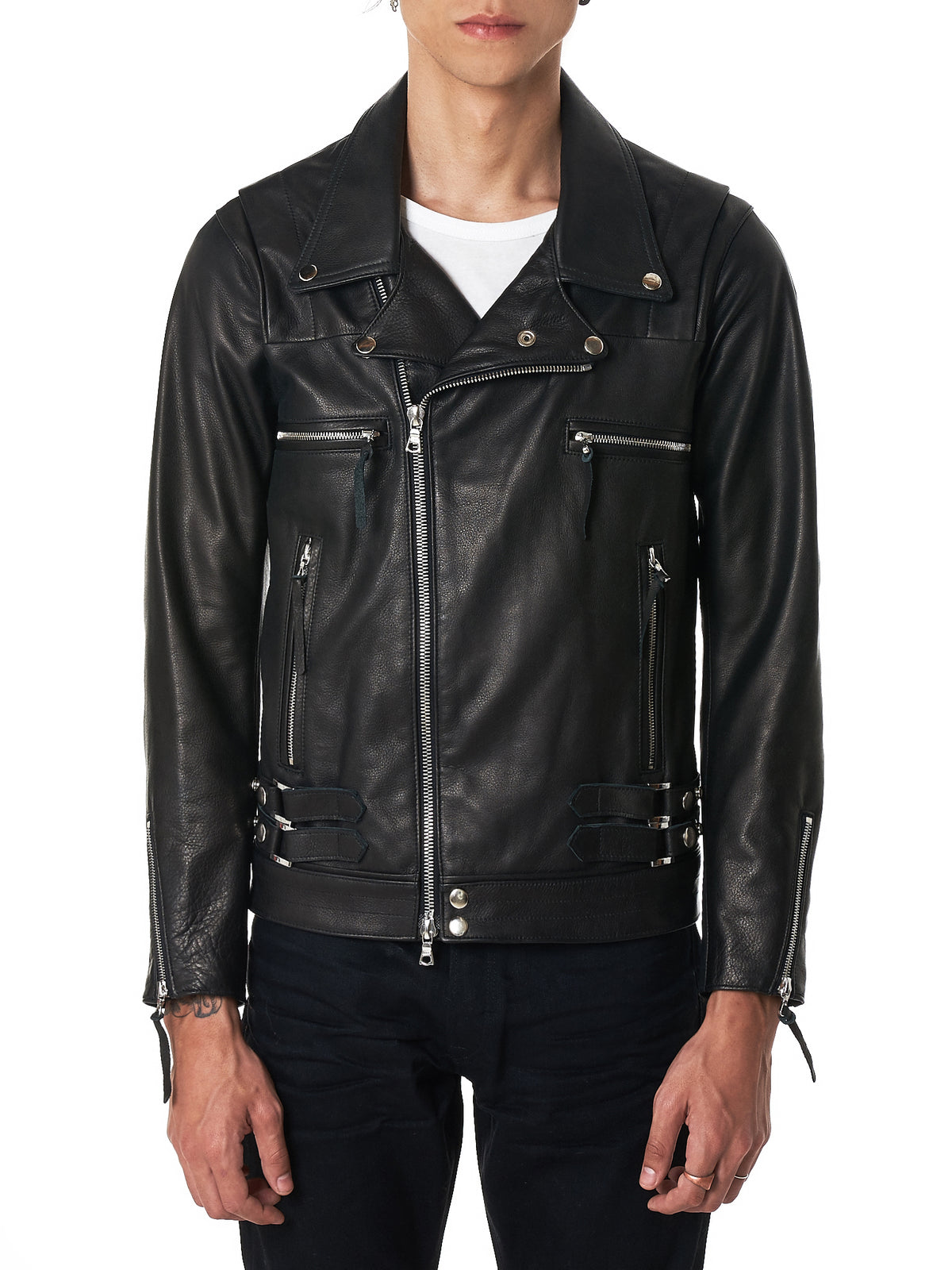 John Elliot Biker Leather Jacket - Hlorenzo Front
