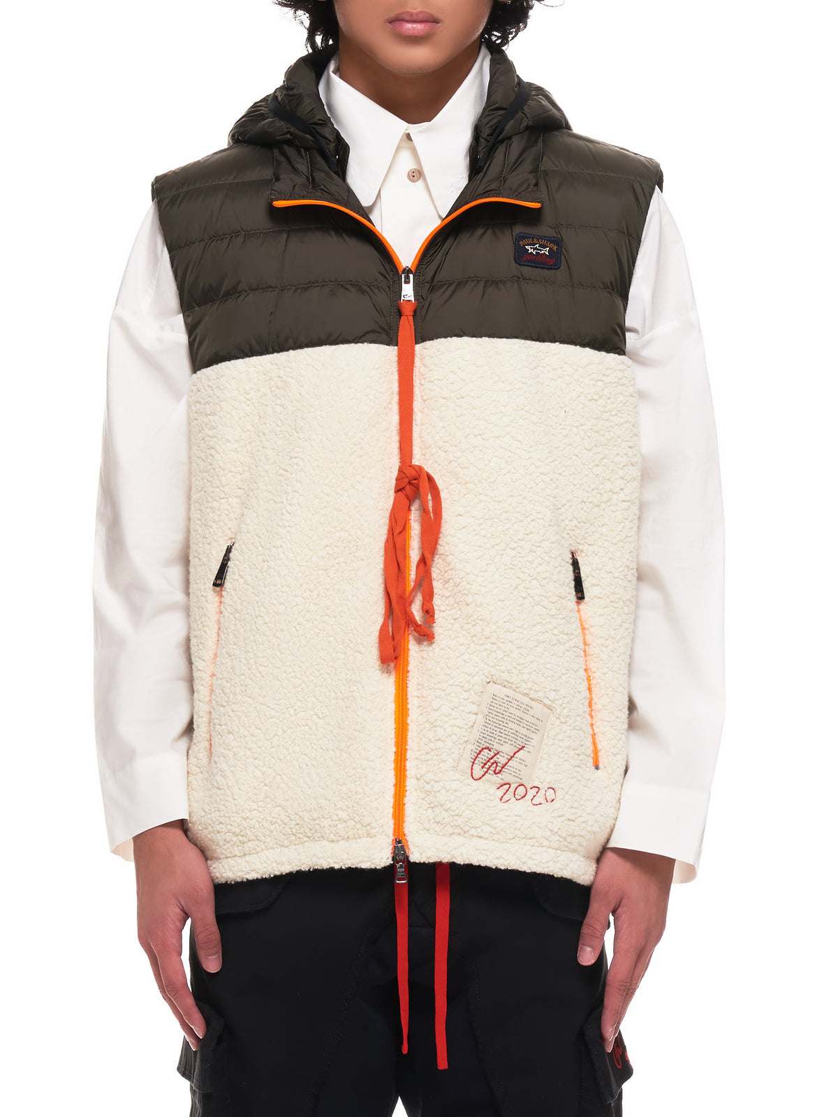 Hybrid Sherpa Down Vest (I20P2802-DARK-KHAKI-OFF-WHITE)