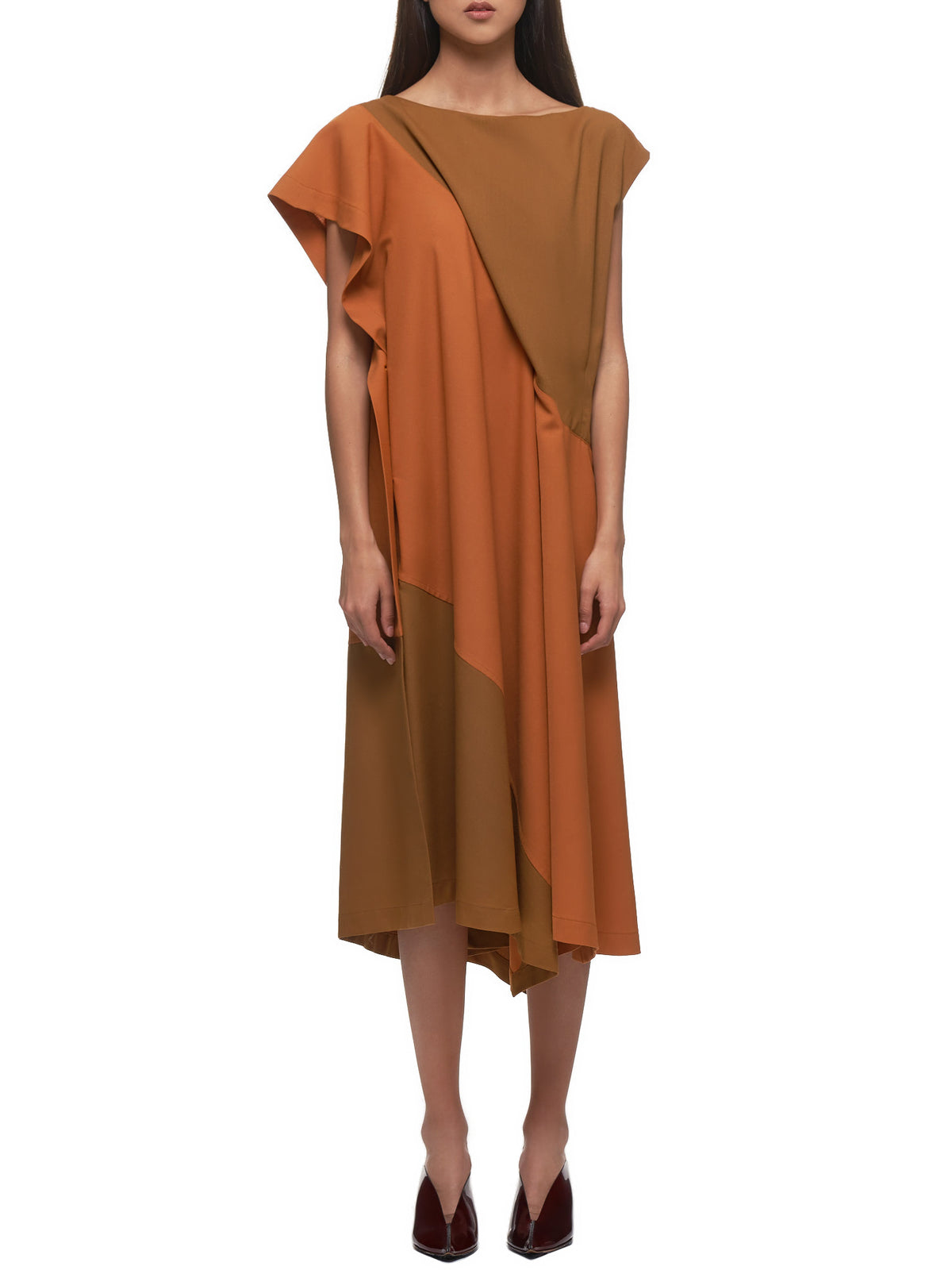 Ruffled Tunic Dress (IL06FH313-MUSTARD-ORANGE)