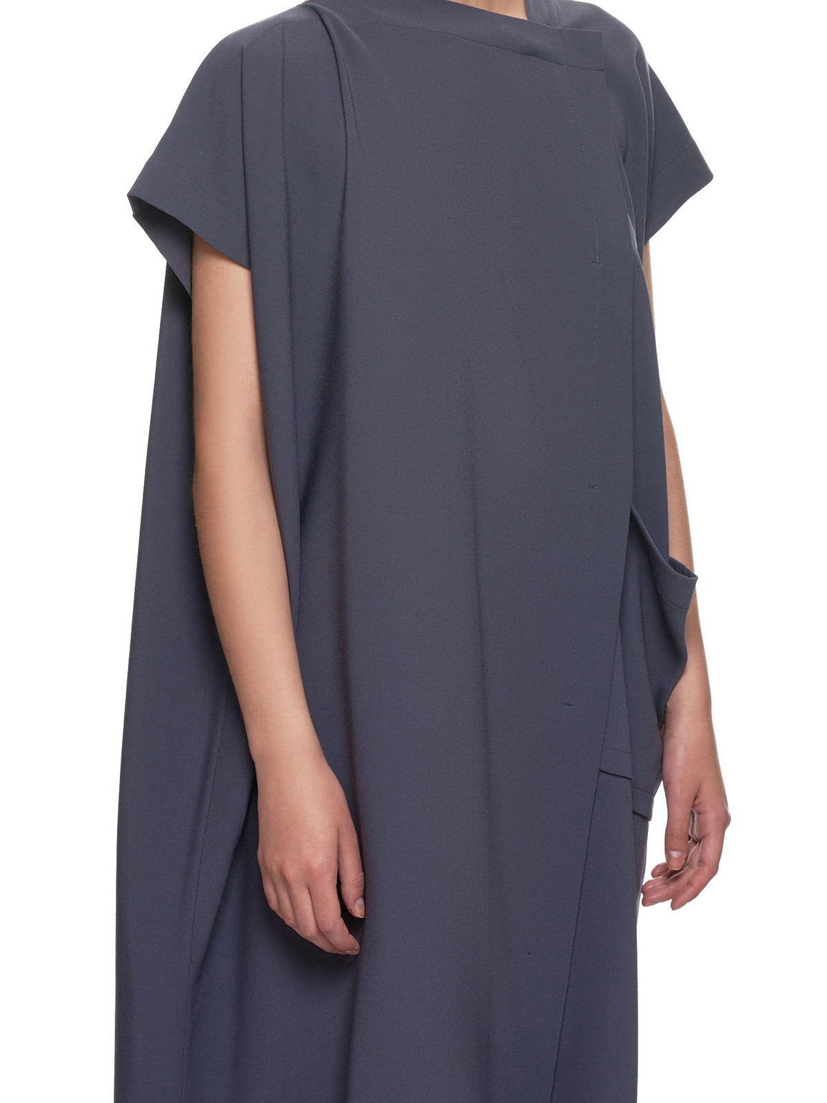 Satin Back Drape Dress (IL96FH337-CHARCOAL-GRAY)
