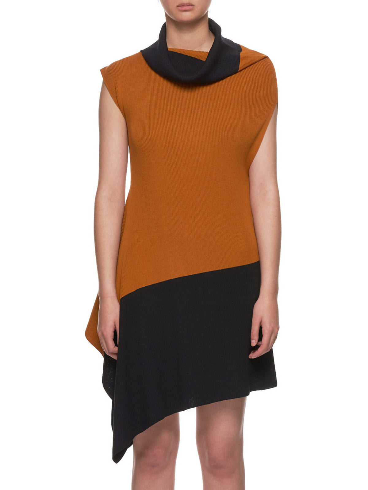 Flat Rib Knit Dress (IL96KT732-ORANGE-BLACK)