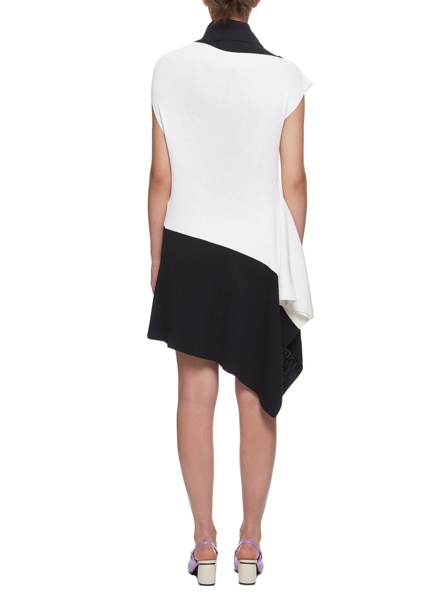 Flat Rib Knit Dress (IL96KT732-WHITE-BLACK)