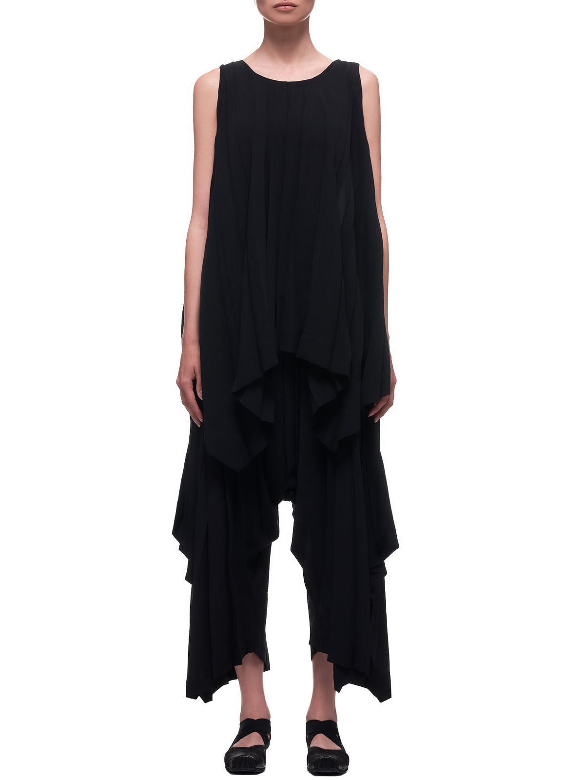 Pleated Parasol Top (IM07FJ626-BLACK)