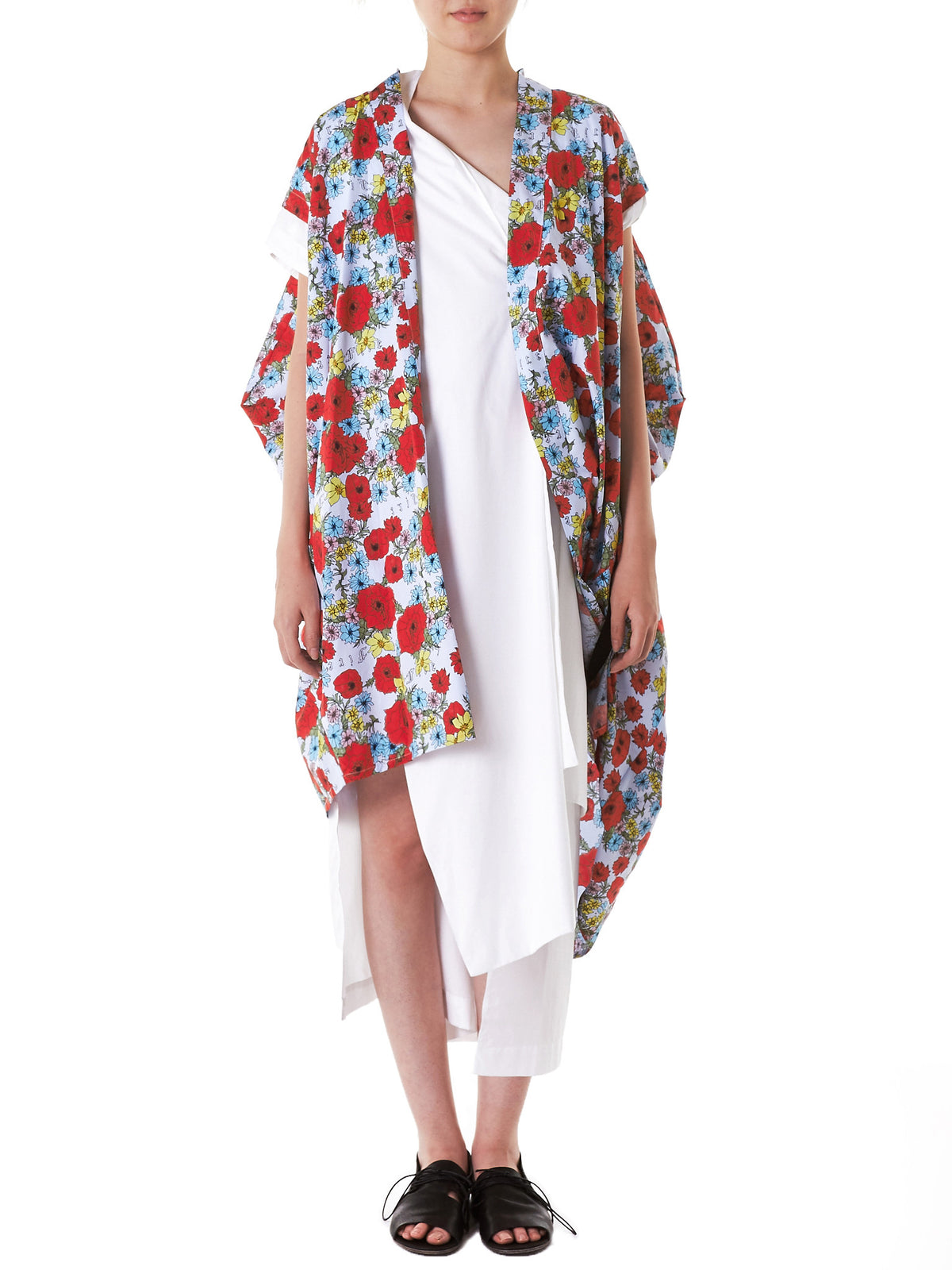 Fringed Floral Kimono (INDS-11L-STAMP-CCP09BLK)