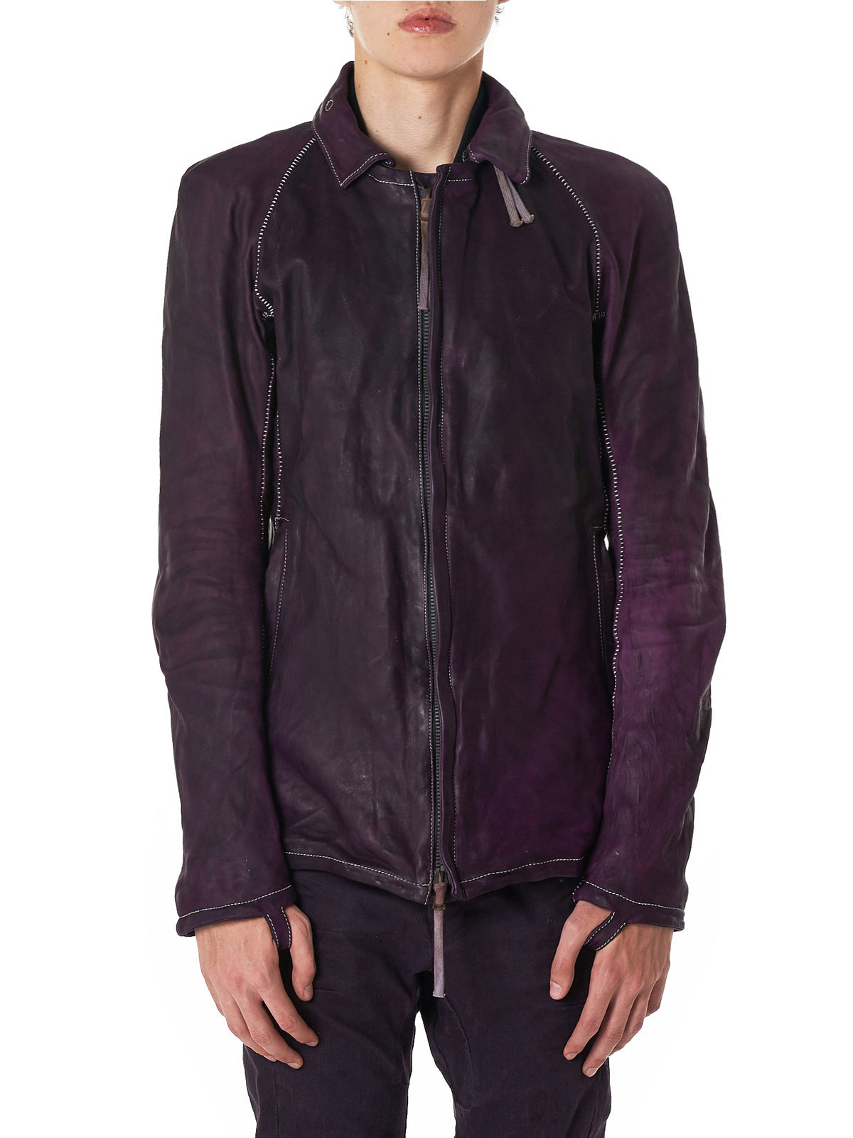 Boris Bidjan Saberi J2 Purple Leather Jacket - Hlorenzo Front