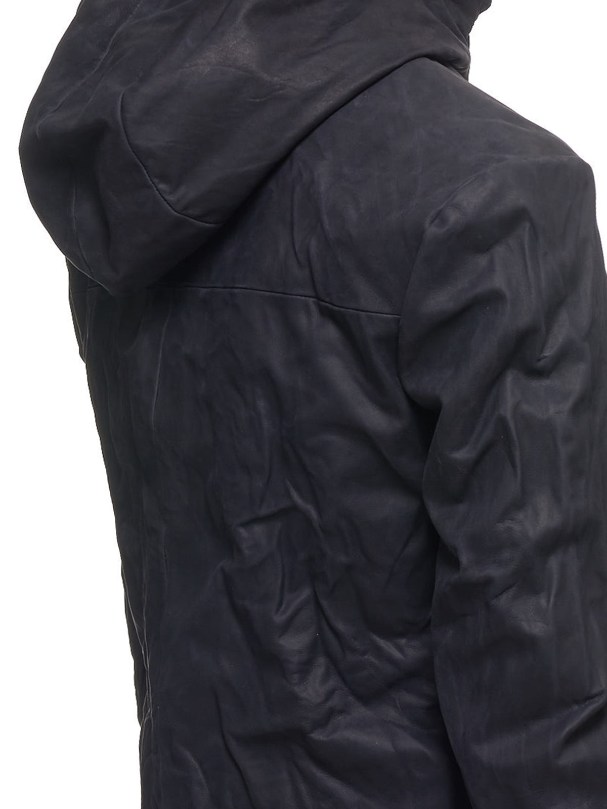 Hooded Leather Racer Jacket (J224HZ-J224HZ-DAV0-5-BLACK)