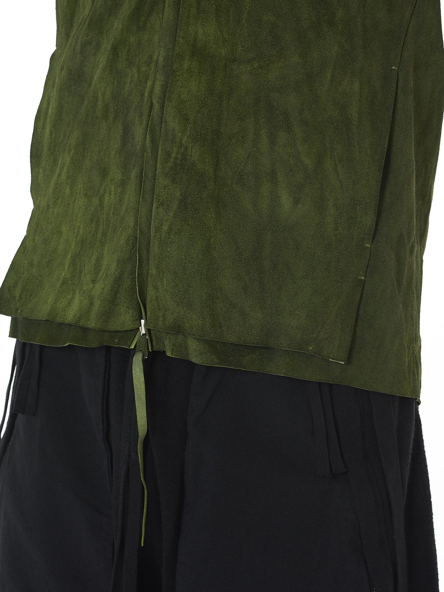 'Cross' Raw Leather Aviator Jacket (J224HZ-NUB-R-0-6-MACAW-GREEN)