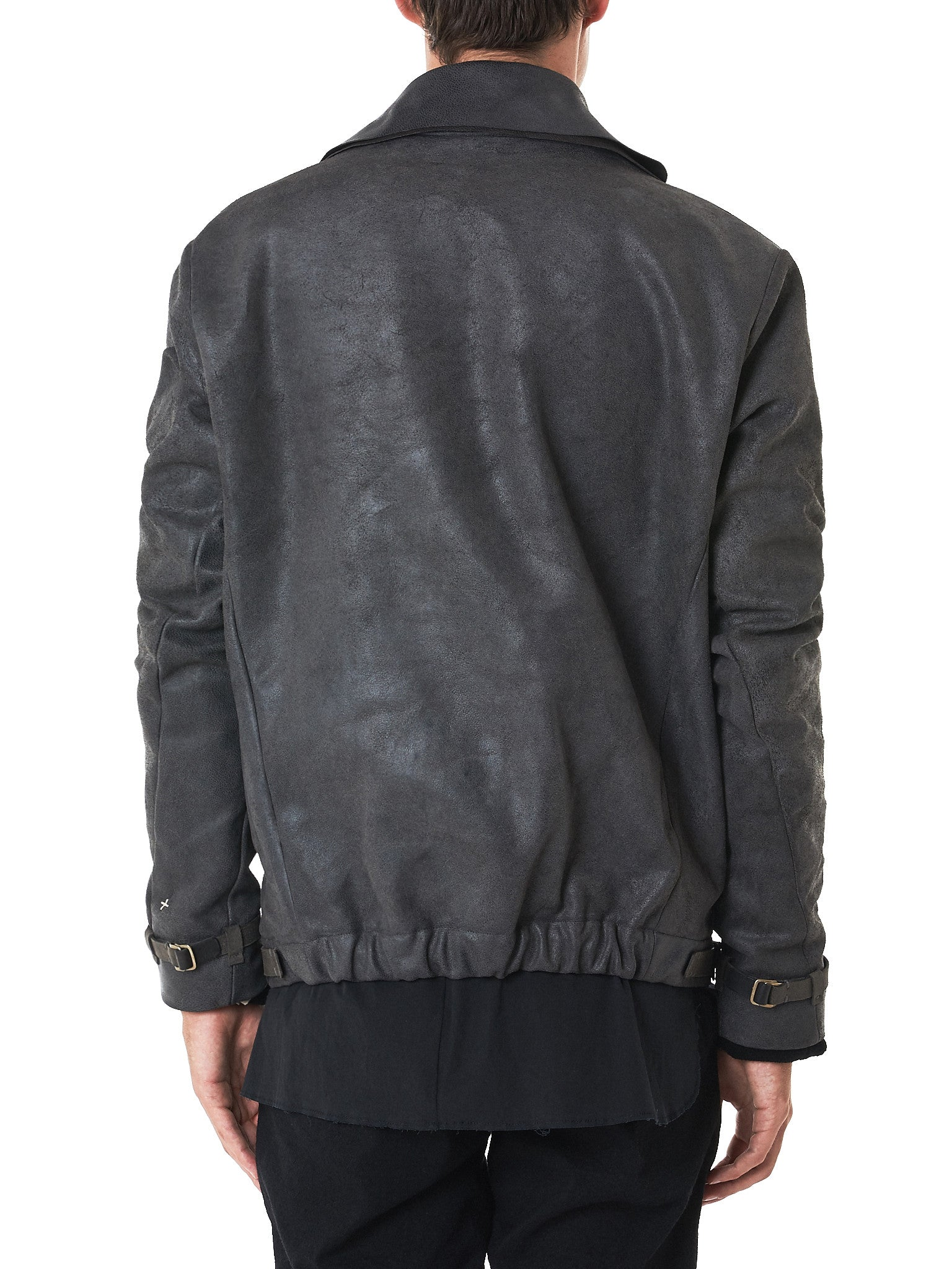 MA+/Hlorenzo- waxed leather jacket rear view