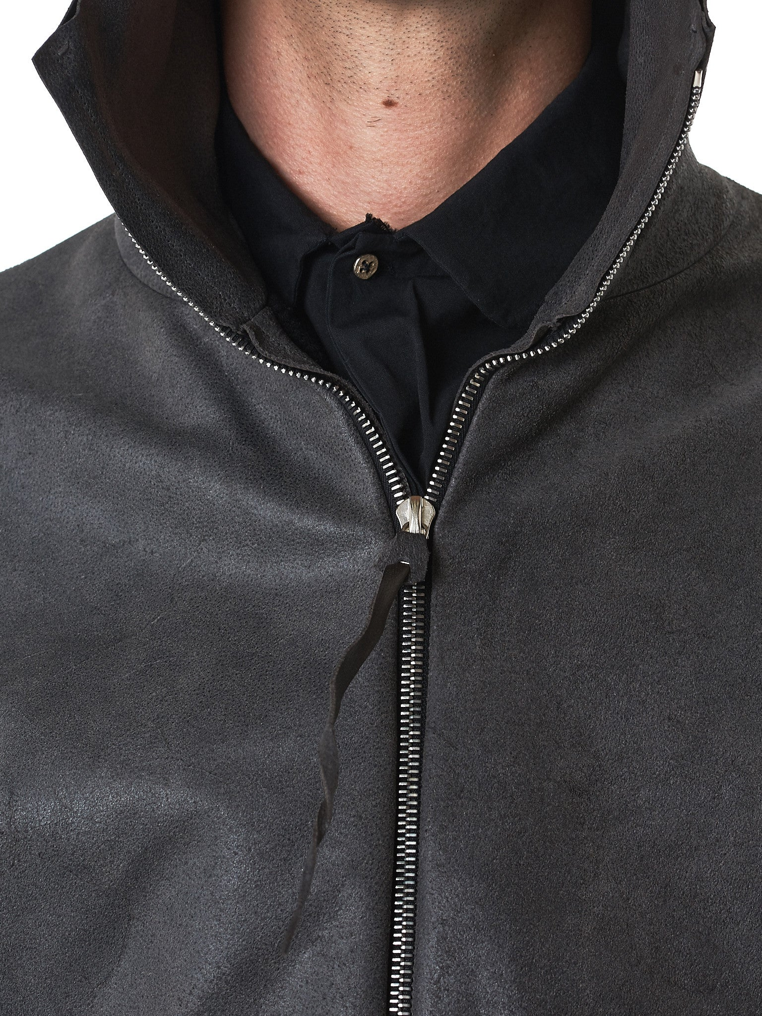 MA+/Hlorenzo- waxed leather jacket detail