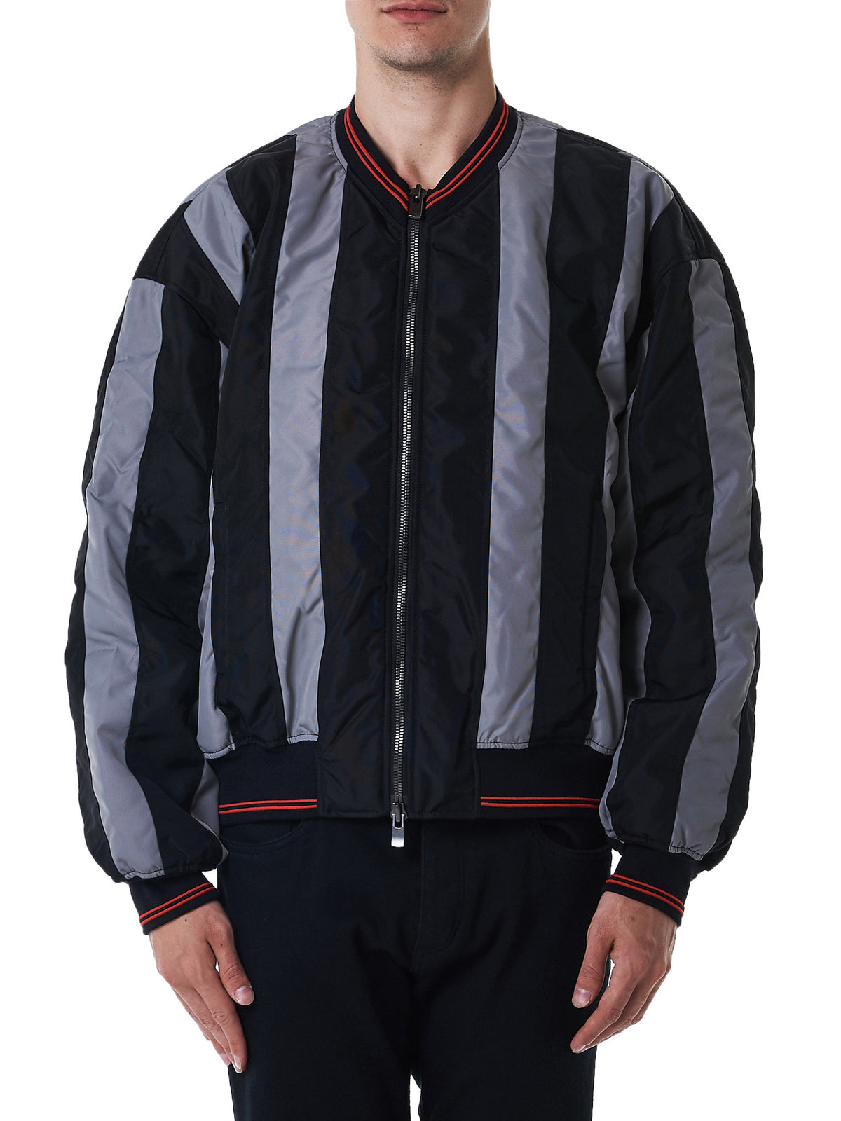 Striped Bomber Jacket (JACK10-S12-S11T9-BLACK-GREY)