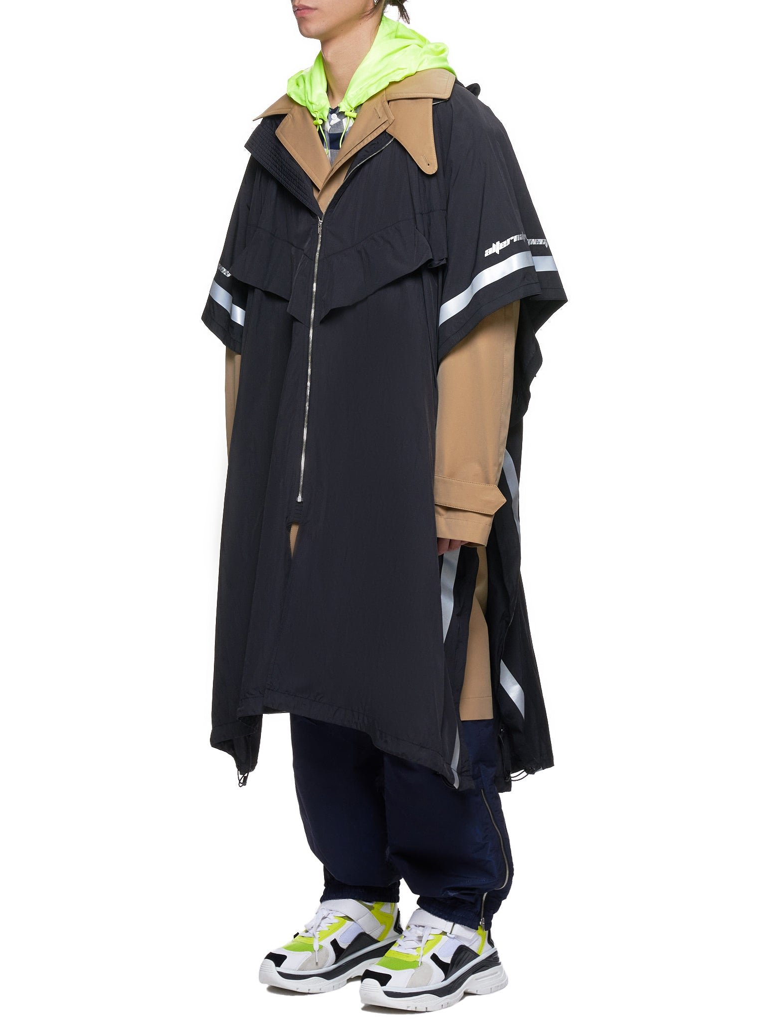 Double-Layer Windbreaker Coat (JC9230H22A-BLACK-KHAKI)