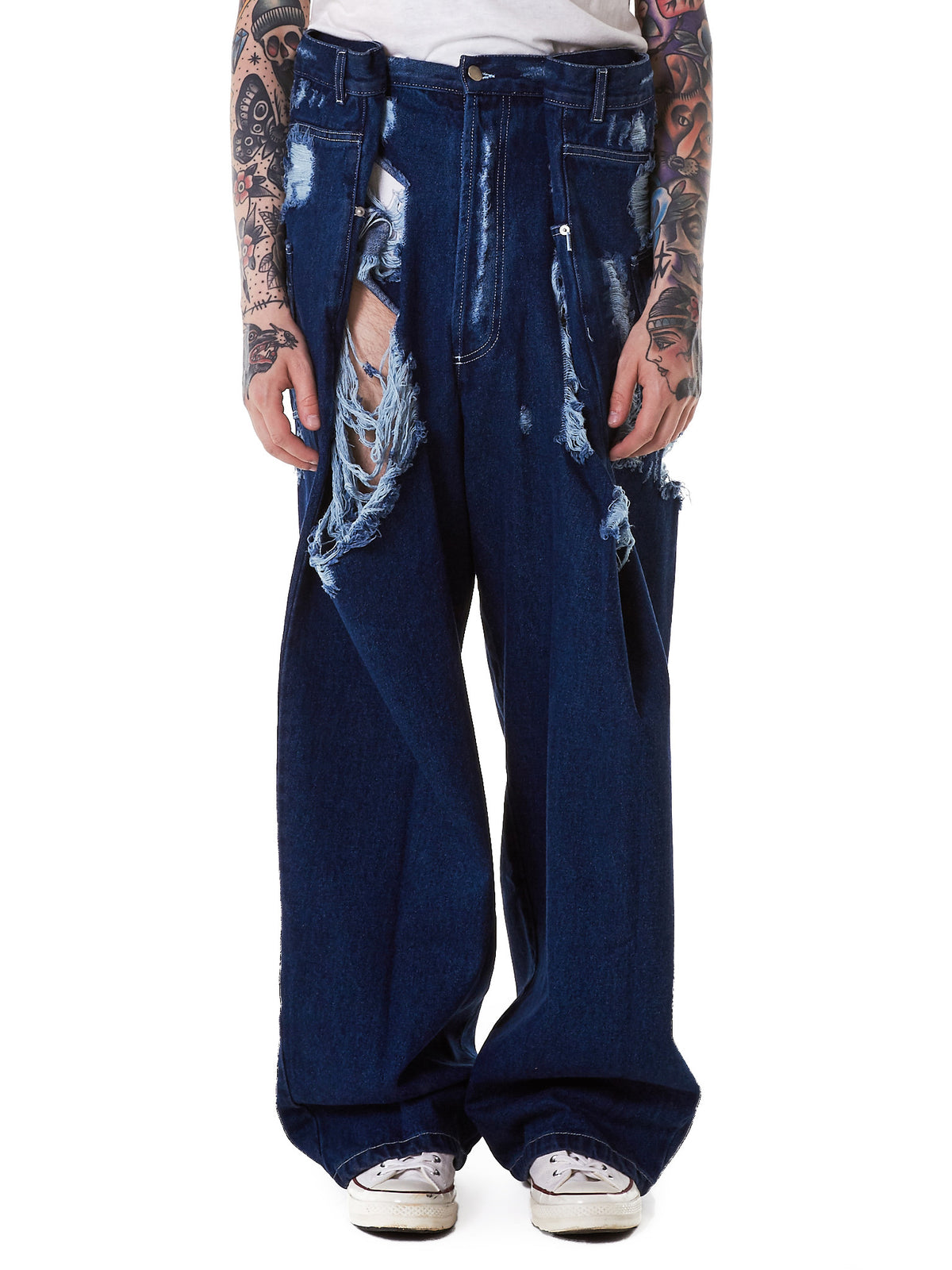Relaxed Destroyed Denim Jeans (JEAN06-C-FRAYED-DARK-BLUE) - H. Lorenzo