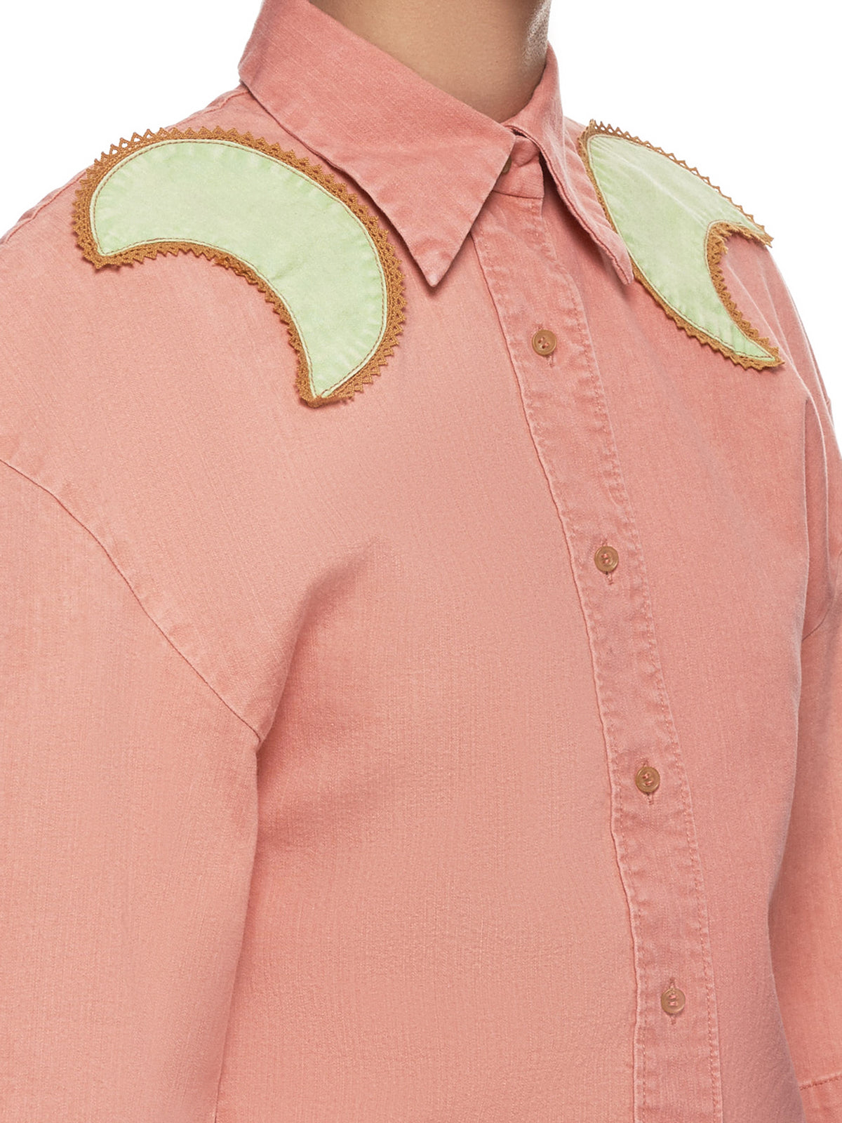 Crescent Moon Collared Shirt (JFSS19B03-PINK-GREEN)