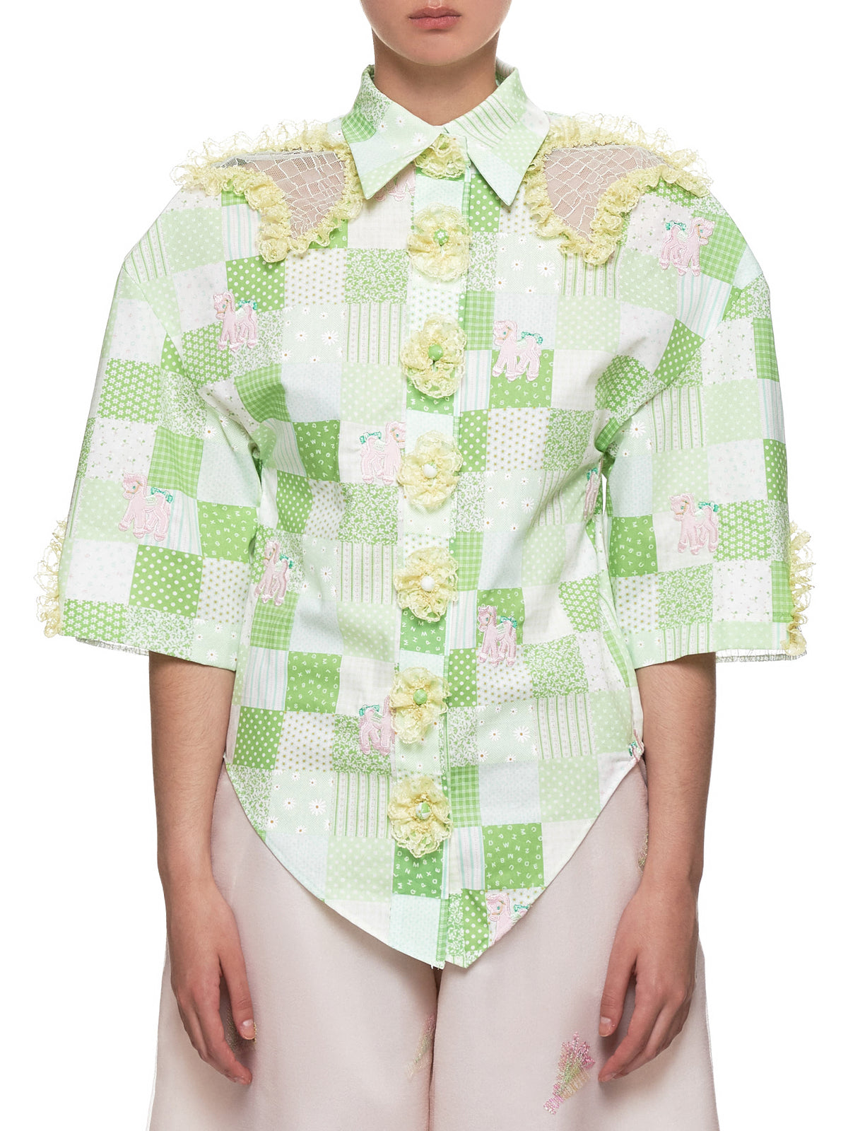 Padded Pony Top (JFSS19B031-GREEN-CHECK)
