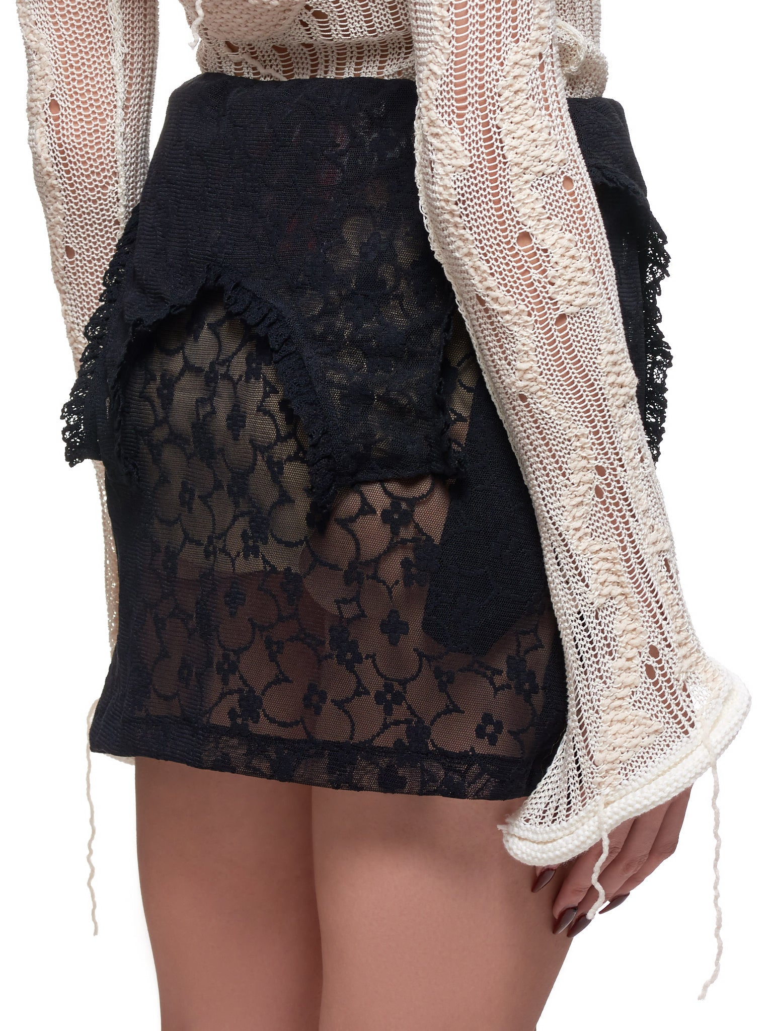 Lace Mini Skirt (JFSS20S012-BLACK)