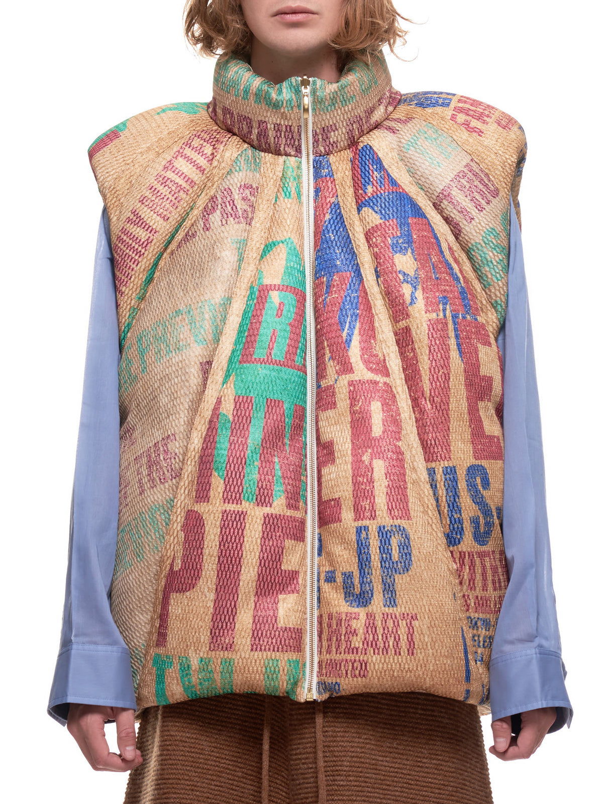 Durham Panelled Down Vest (JK-04-MG-BEIGE-MULTI)
