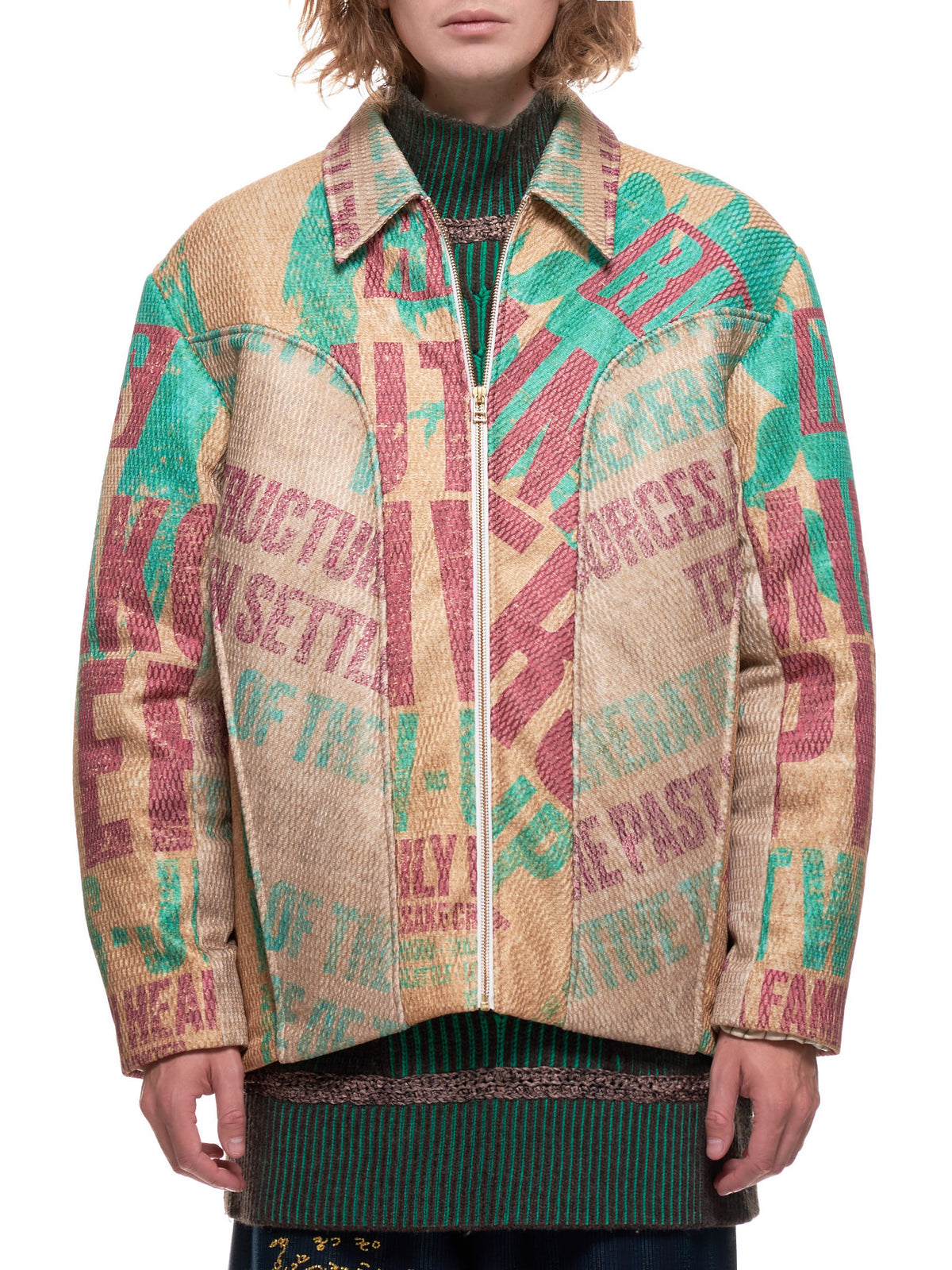 Linda Panelled Blouson Jacket (JK-07-LINDA-MULTI-GRAPHIC-JADE)