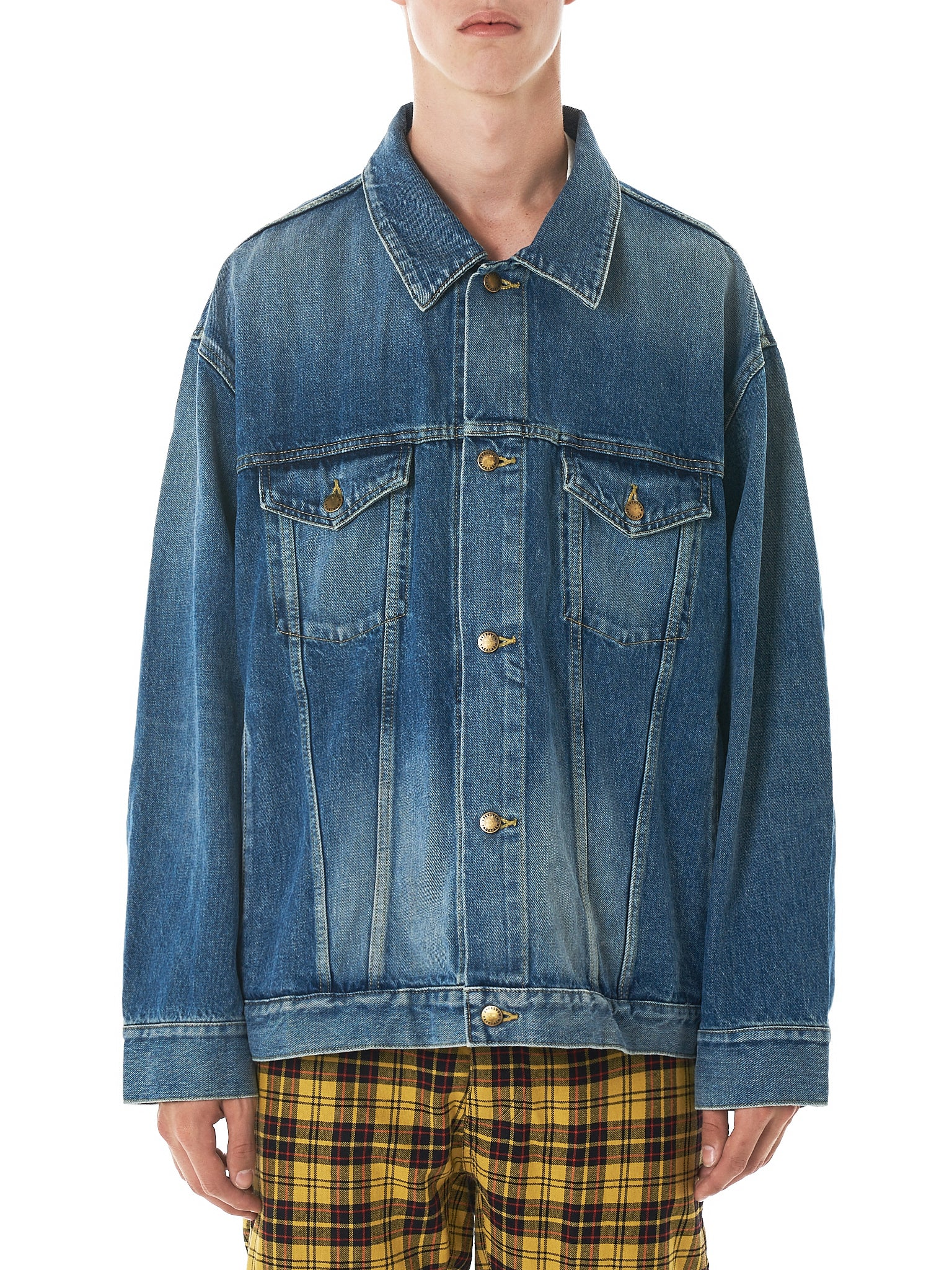 Rib Panel Denim Jacket (JKU02-WAIN)