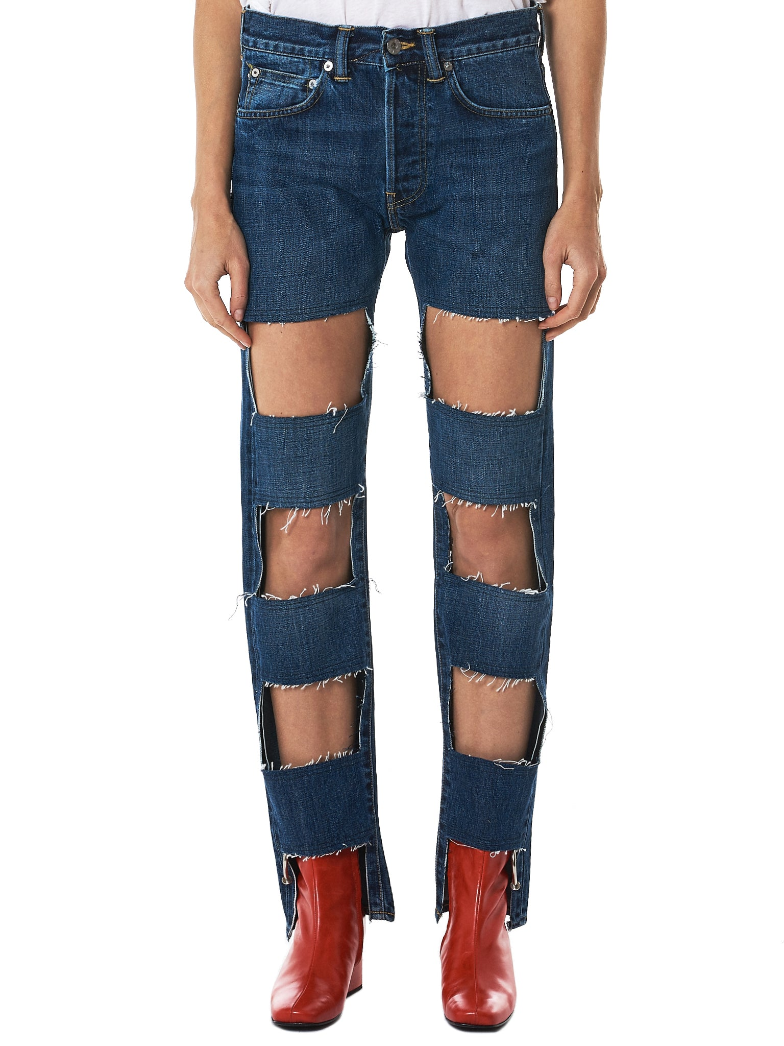 Lutz Huelle Cutout Denim Pants - Hlorenzo Front