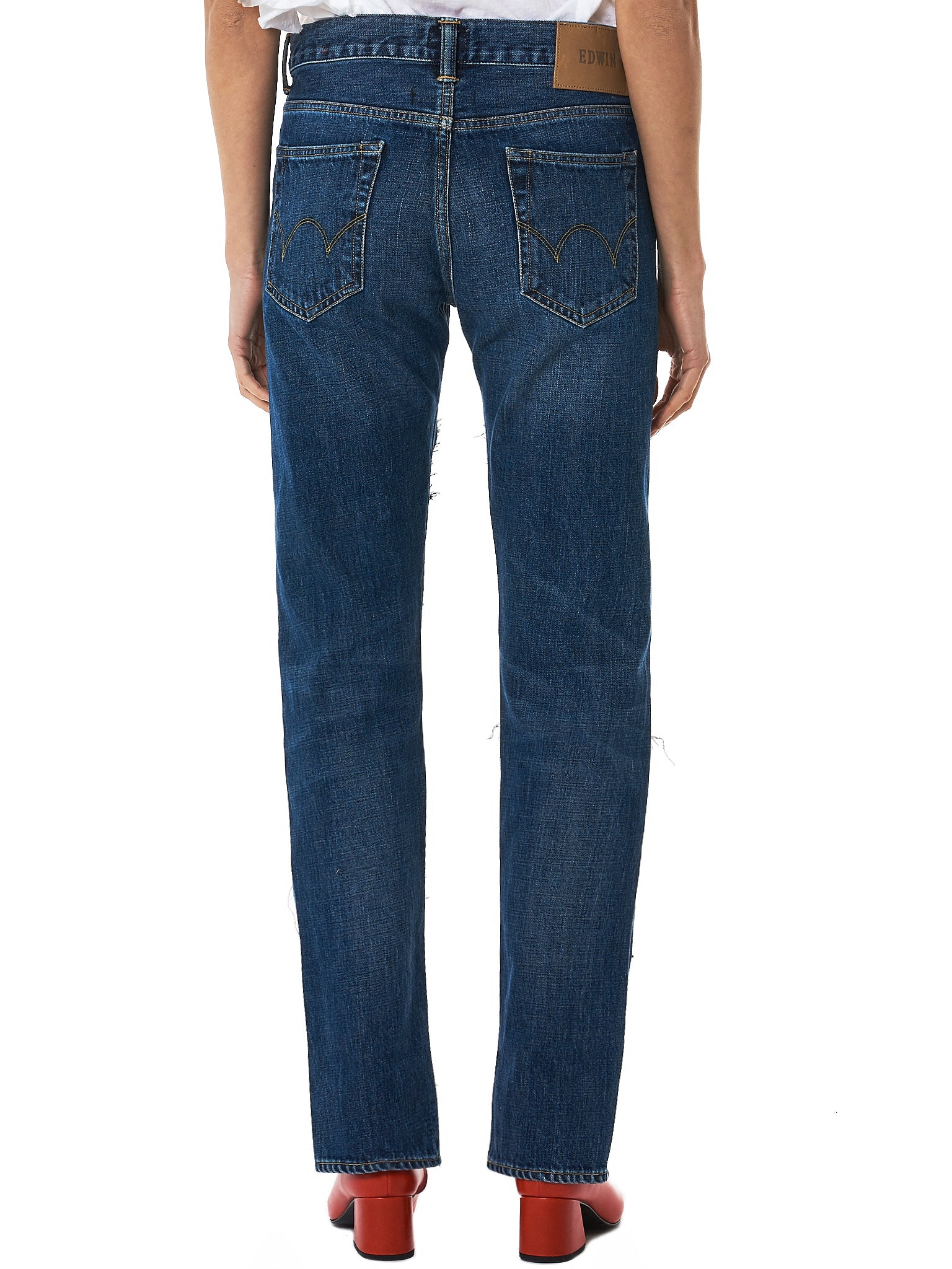 Lutz Huelle Cutout Denim Pants - Hlorenzo Back
