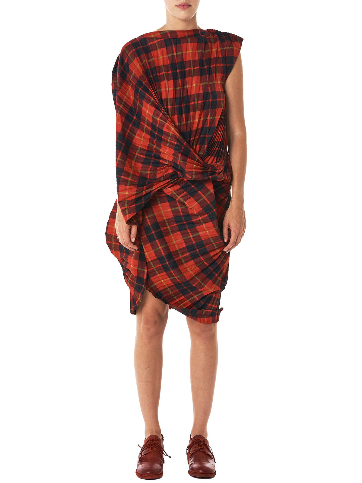 Pleated Plaid Dress (JT-O004-051-2)