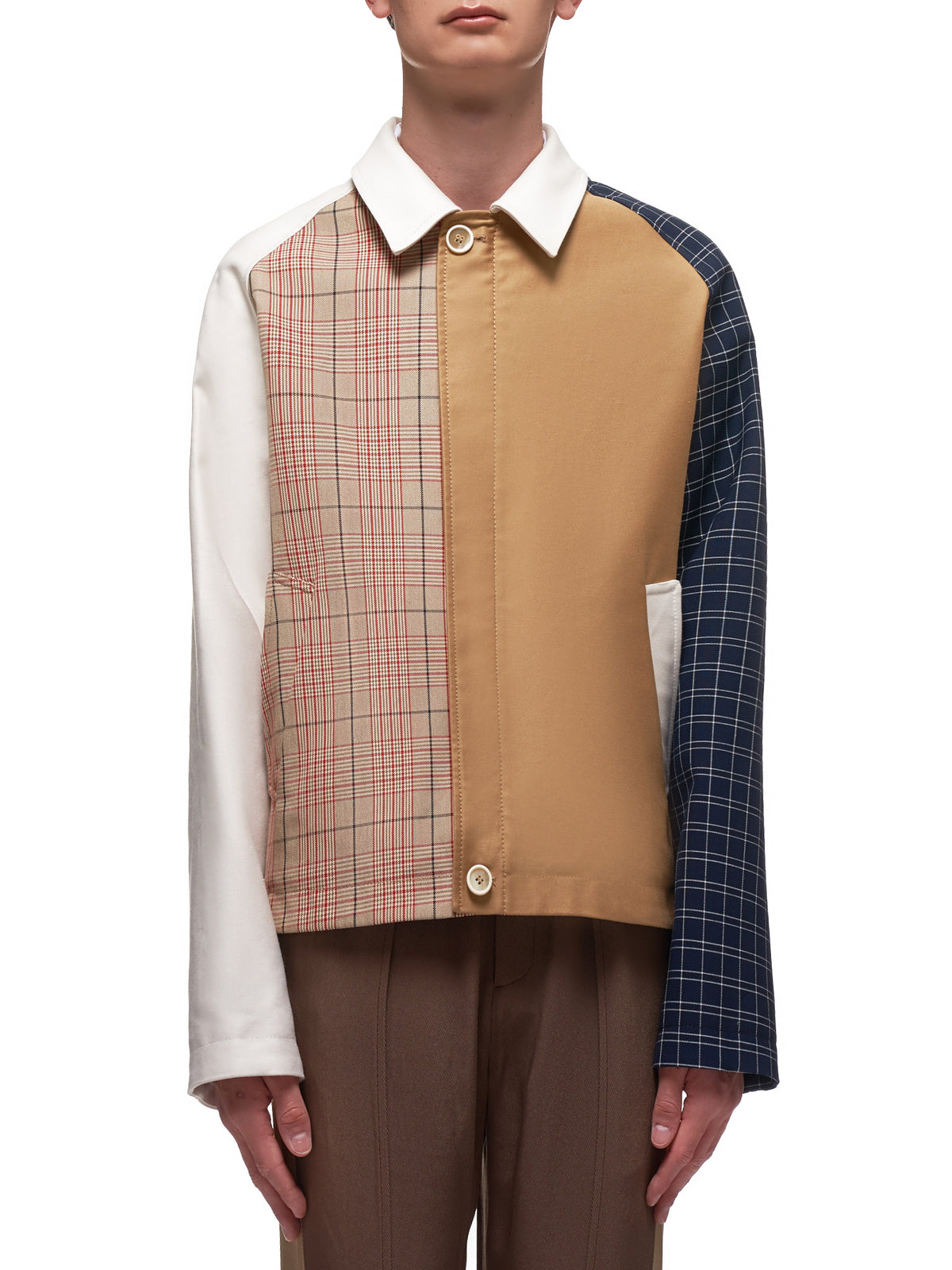 Mixed Plaid Jacket (JUMU0060Q0-Y4340-BEIGE)