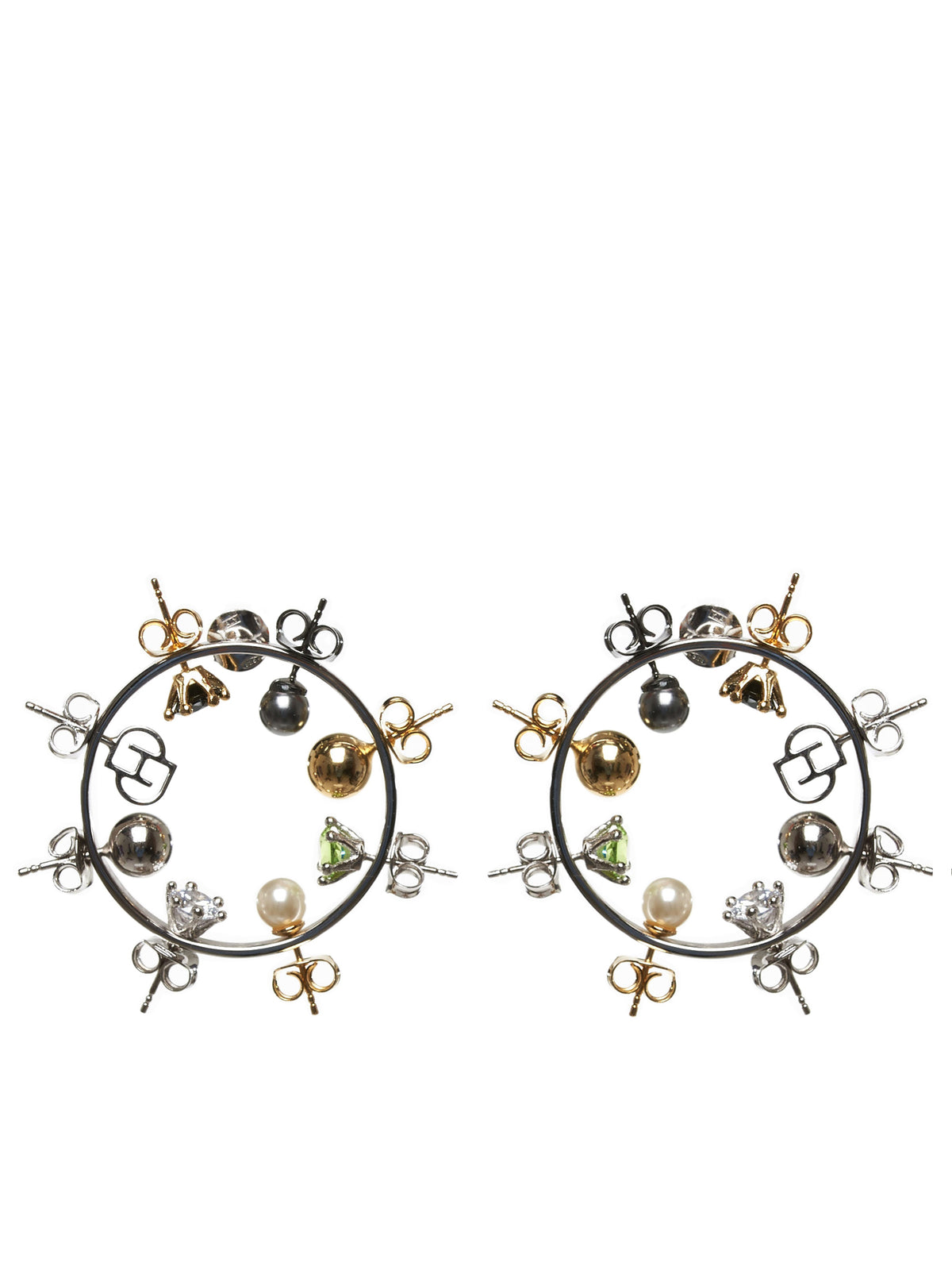 Silver Wheel Hoop Earrings (JW04-SILVER)