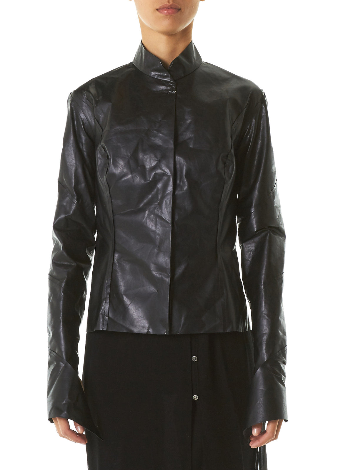 Polished Leather Jacket (JW170-NL-0-4-BLACK) - H. Lorenzo
