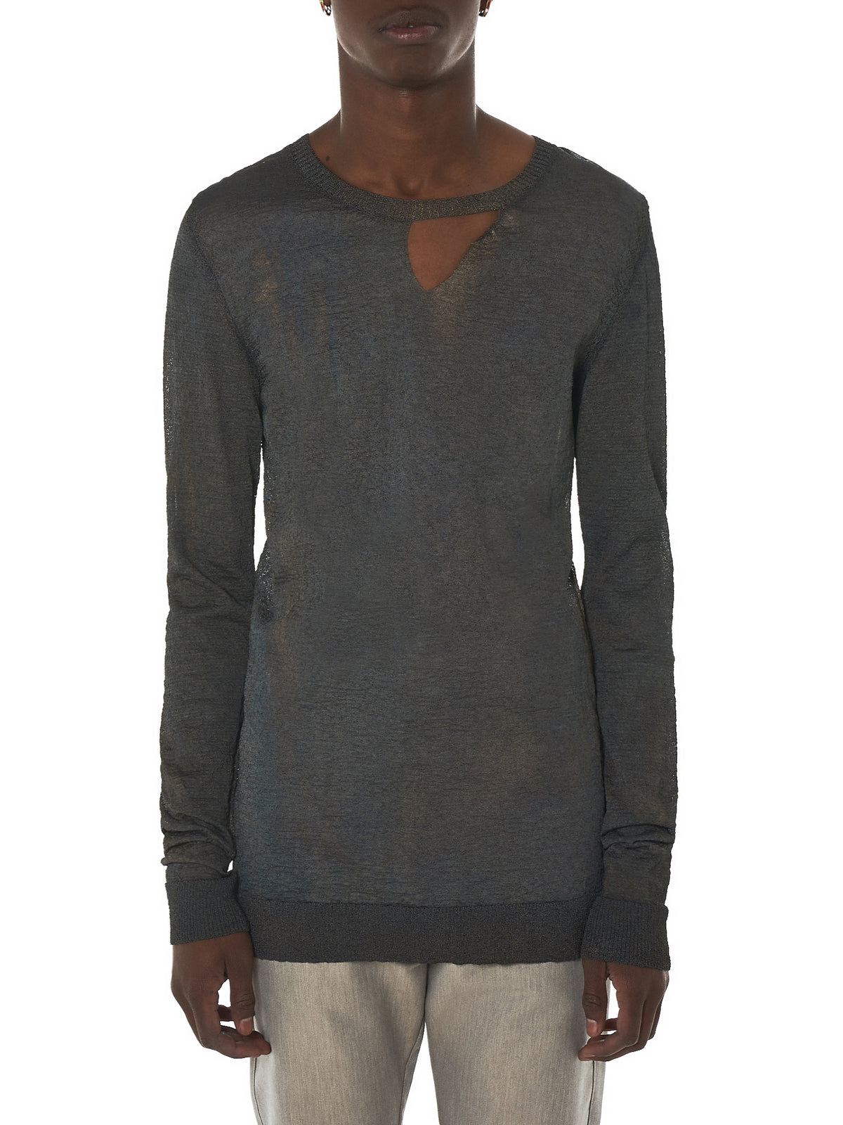 Deepti Silver Long-Sleeve Tee - Hlorenzo Front