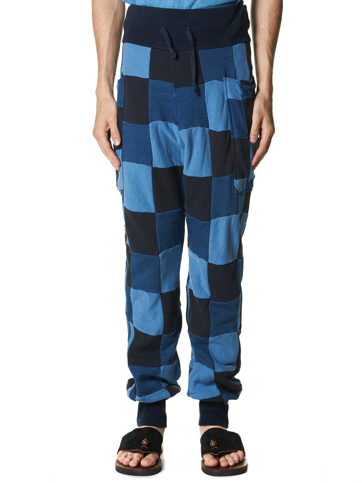 Checkered Patchwork Sweatpants (K1412LP72 INDIGO) - H. Lorenzo