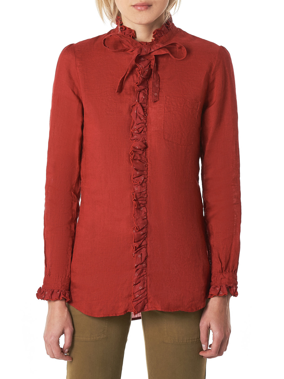 Ruffled Linen Shirt (K1809LS036-RED)