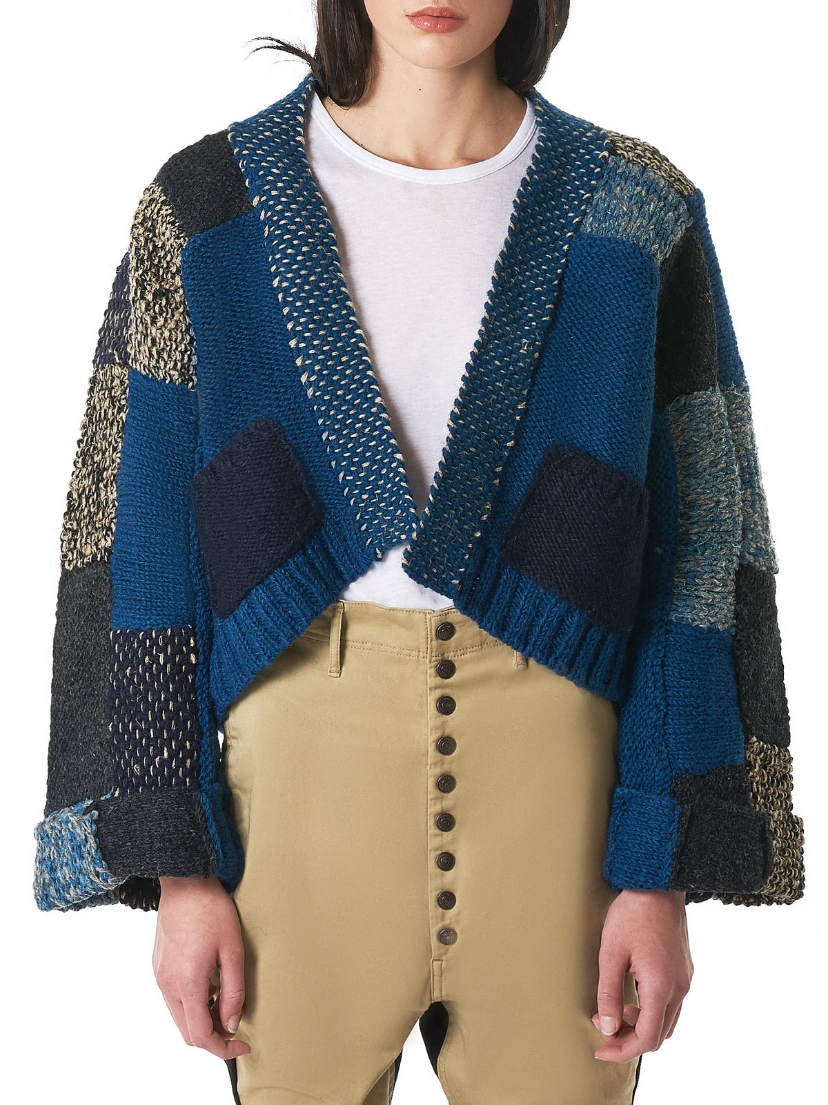 Cropped Patchwork Cardigan (K1811KN232-BLUE)