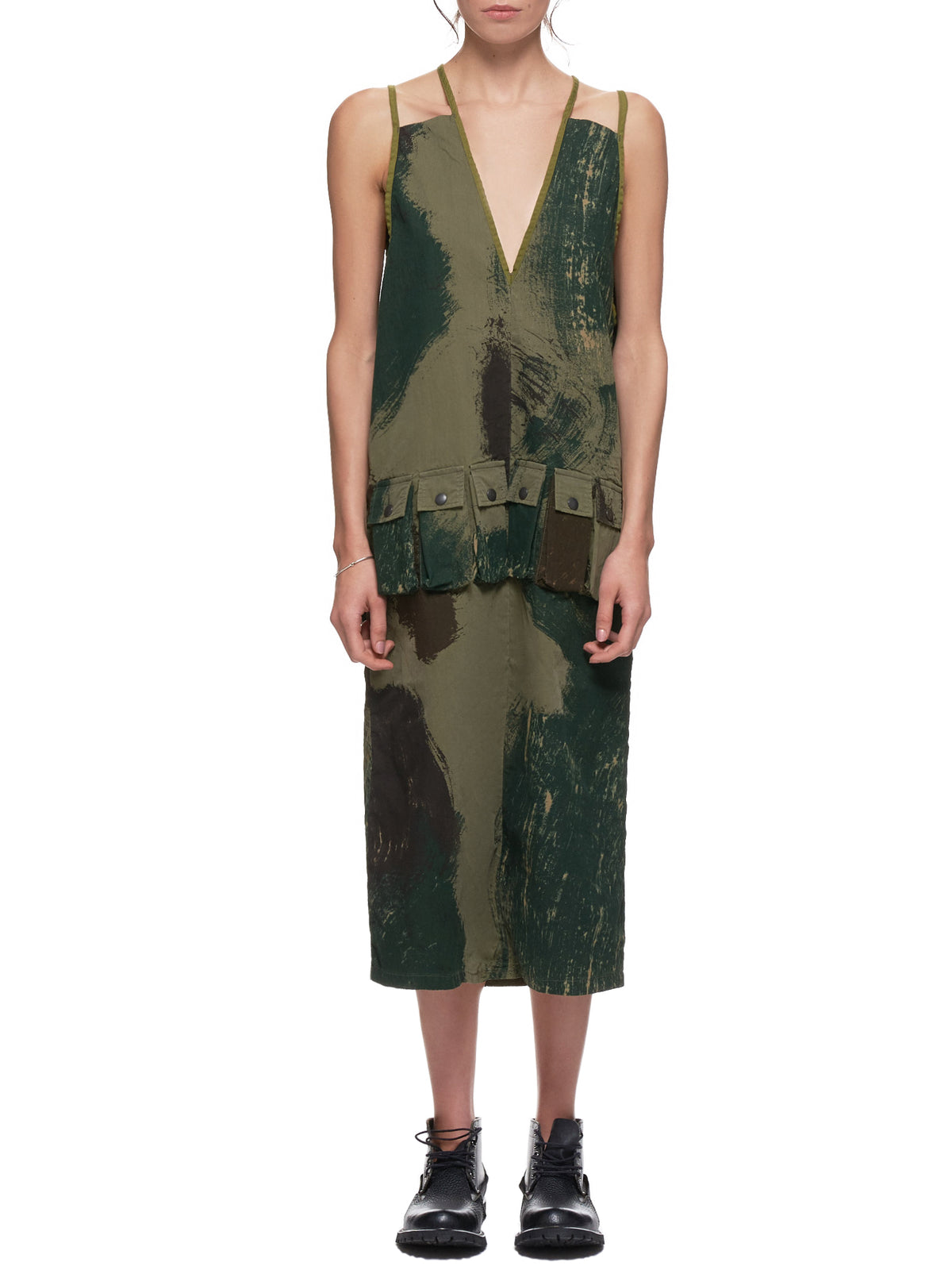 Brushstroke Camo Dress (K1903OP029-KHAKI)