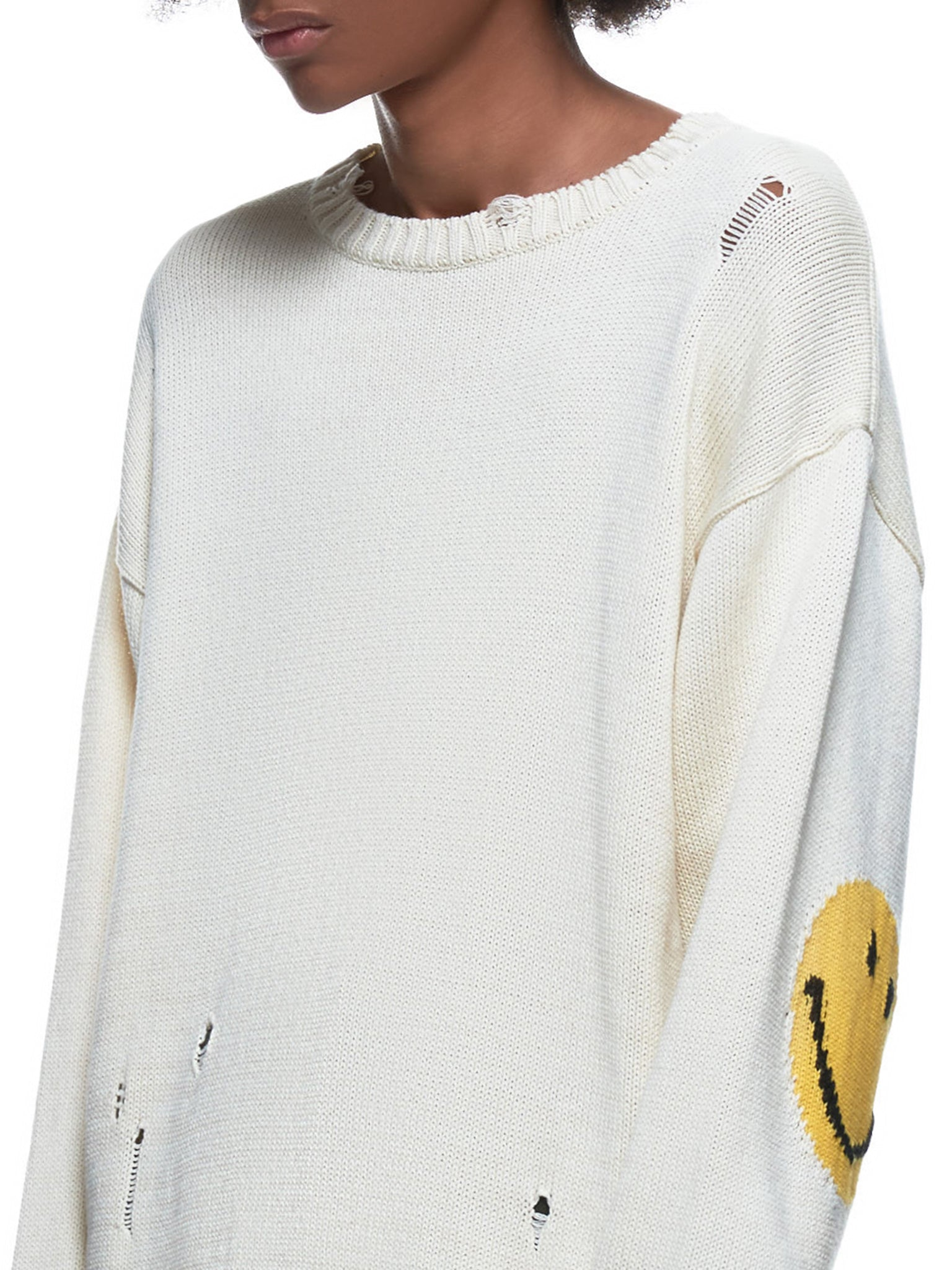 Distressed Knitted Graphic Arm Pullover (K2003KN021-NATURAL)