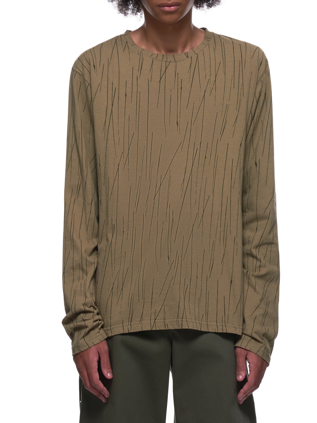 Distorted Lines Smiley Face Long Sleeve Shirt (K2005LC192-KHAKI)