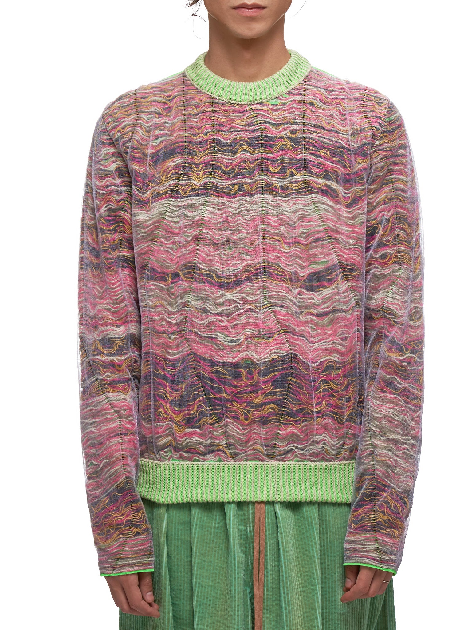 Multicolored Sweater (KNIT000118-RED-BROWN)