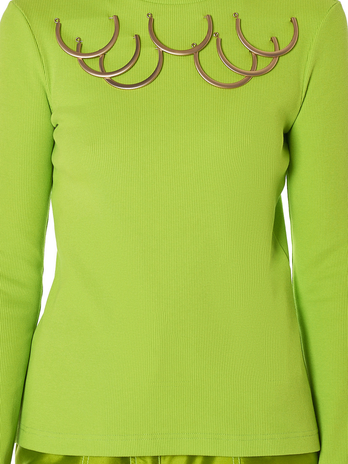 Kreist Turtleneck Green Top - Hlorenzo Detail 2