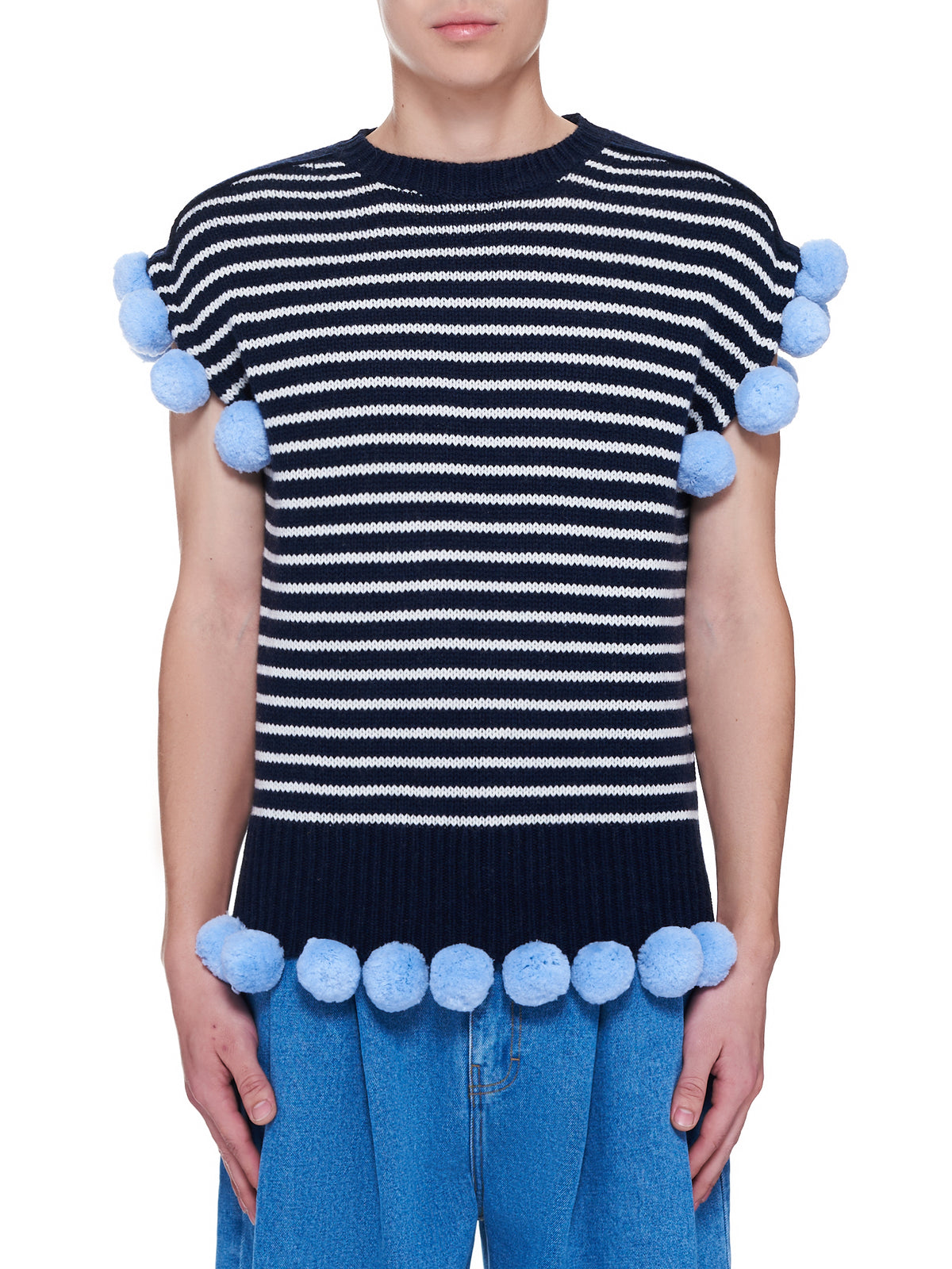 Wool Pom-Pom Sleeveless Sweater (KT0031-NAVY-OFFWHITE)