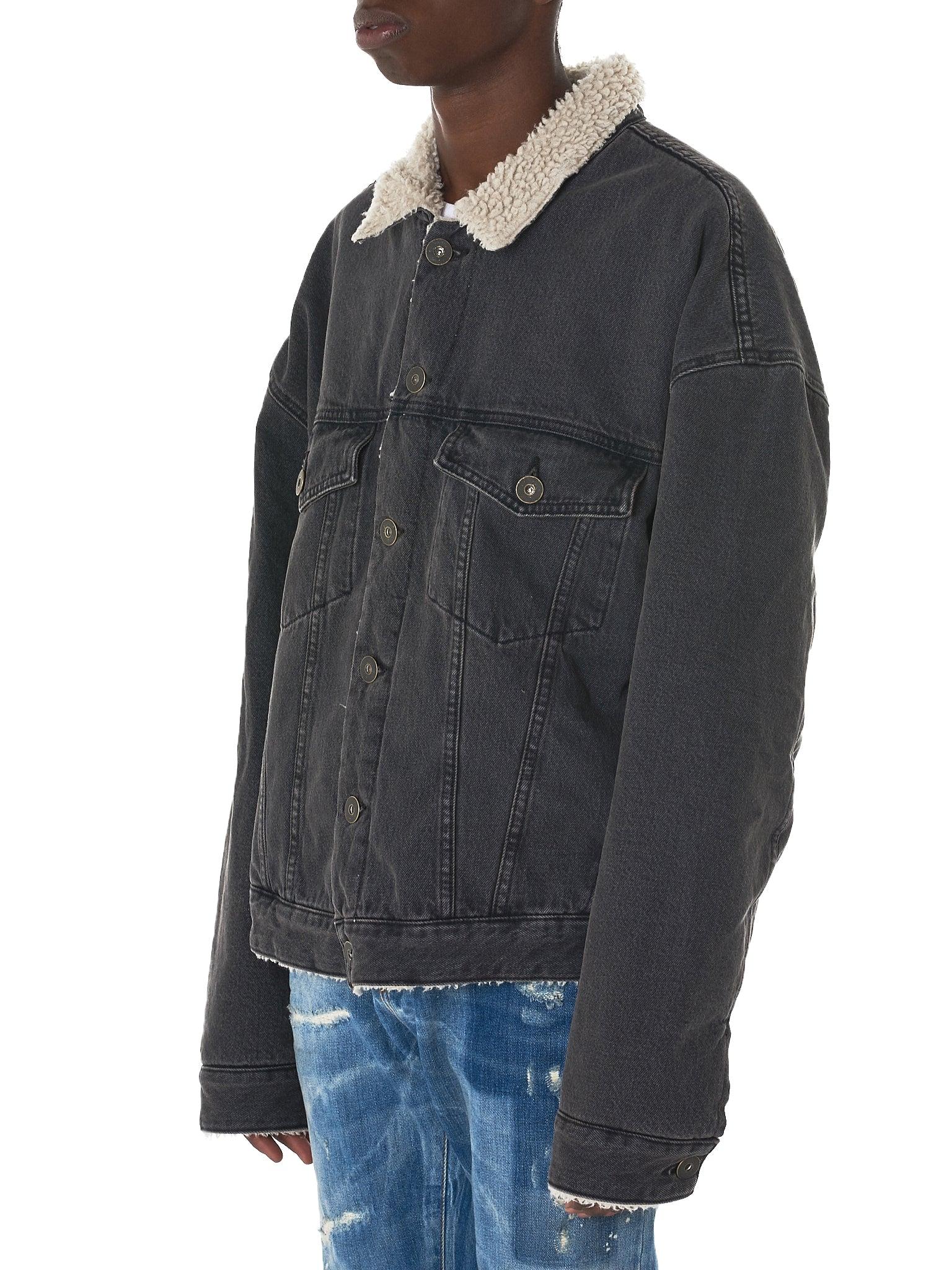 Shearling Denim Jacket (KW5U6098-NKN)