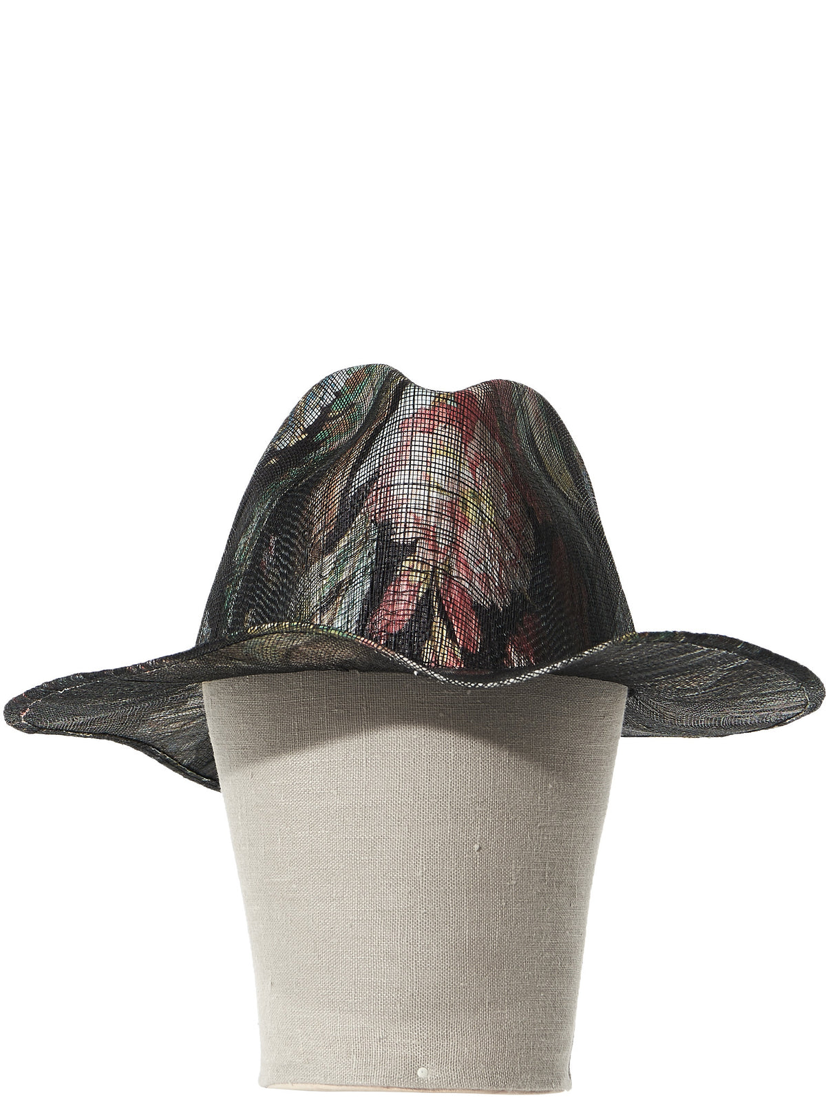 Printed Straw Hat (LAILA OPEN SISAL BLK EXOTICA 2) - H. Lorenzo