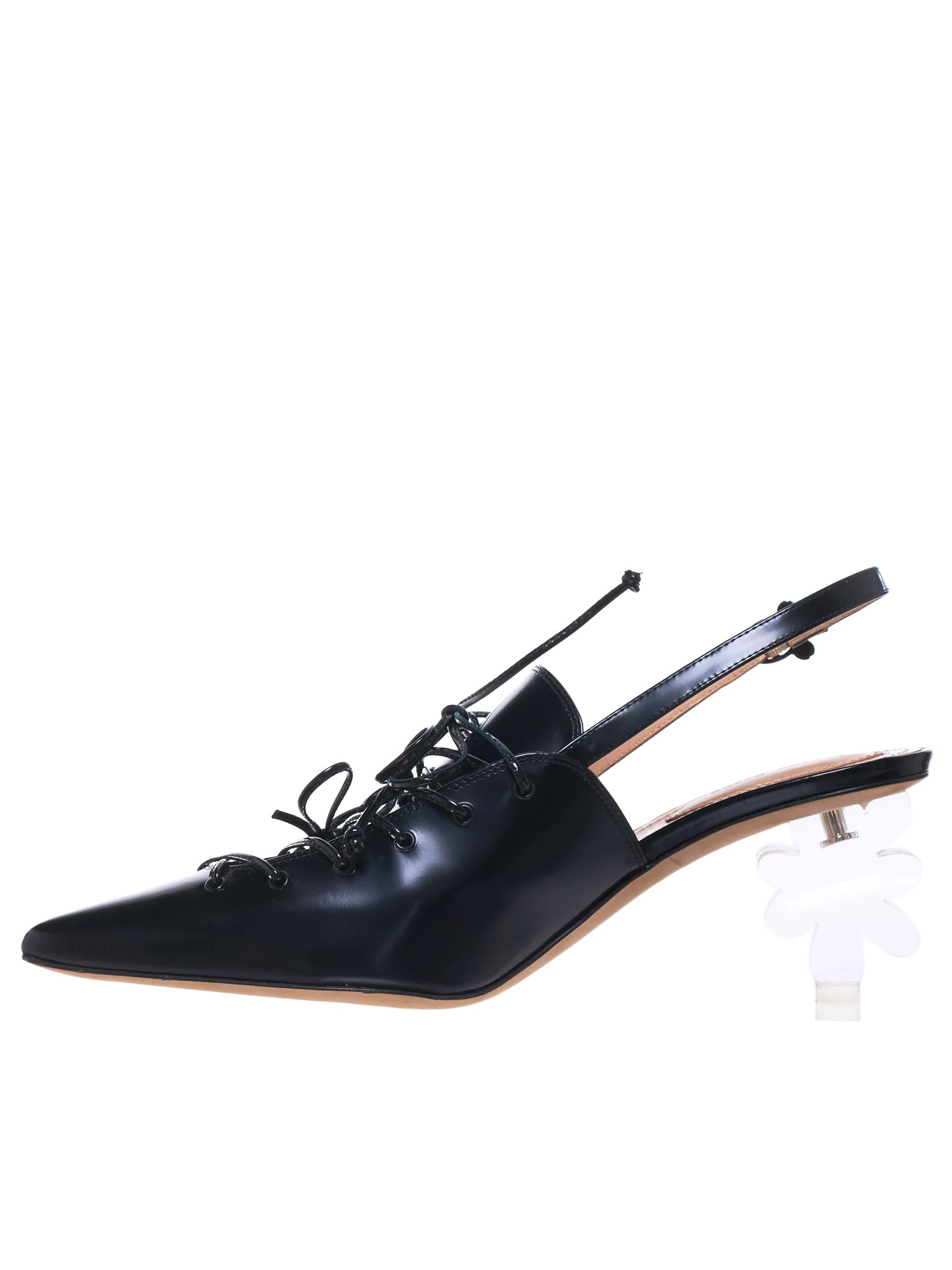 Flower Heel Pumps (LH6E-0740-BLACK-CLEAR)
