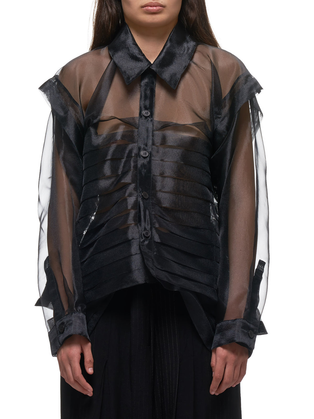 Pleated Sheer Blouse (LN-B10-901-BLACK)