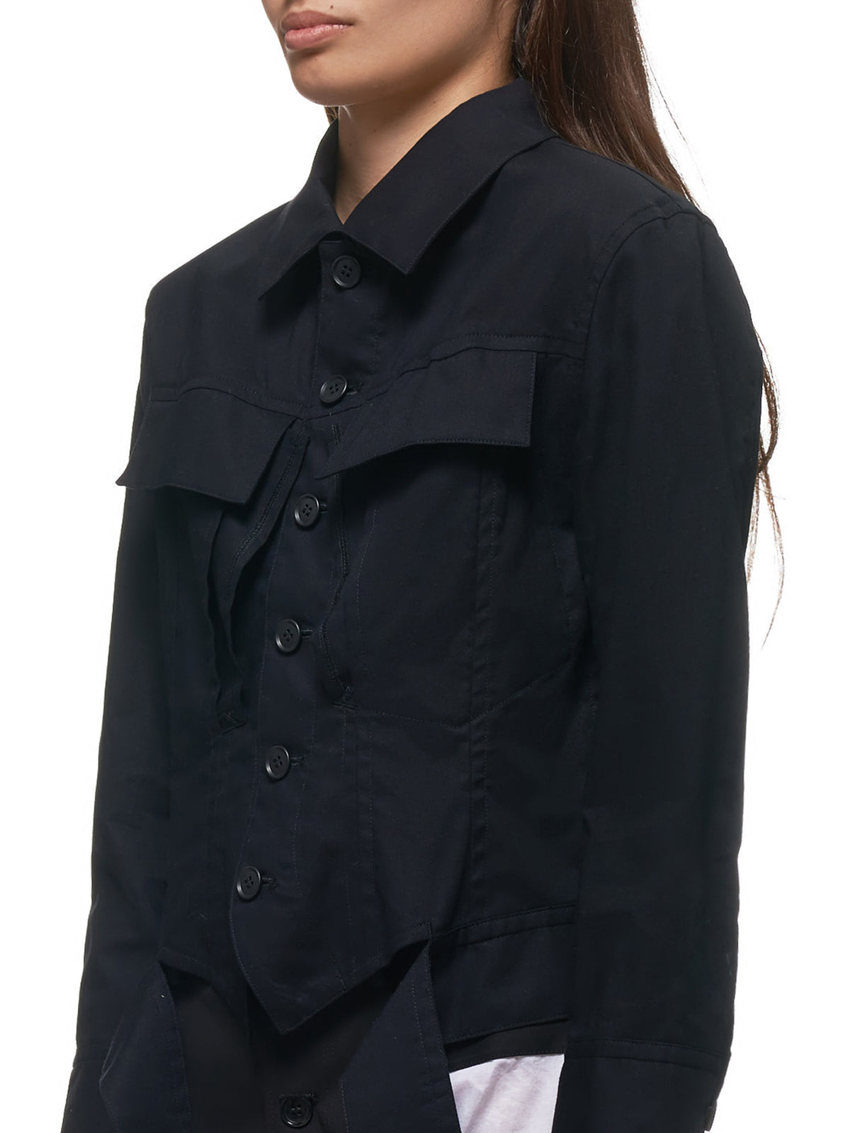 Dainty Trucker Shirt Jacket (LN-J03-010-BLACK)