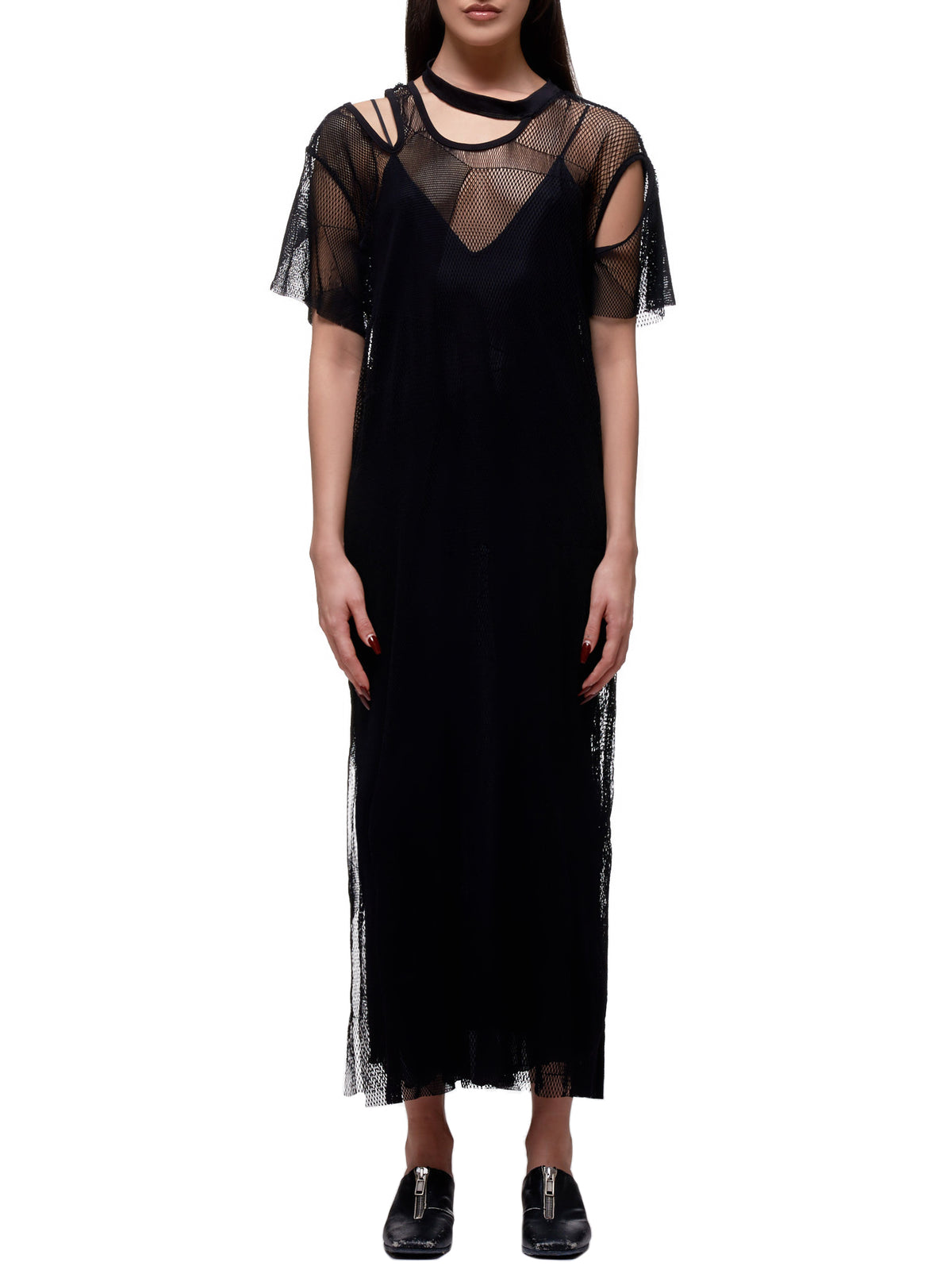 Asymmetrical Mesh Dress (LN-T66-635-BLACK)