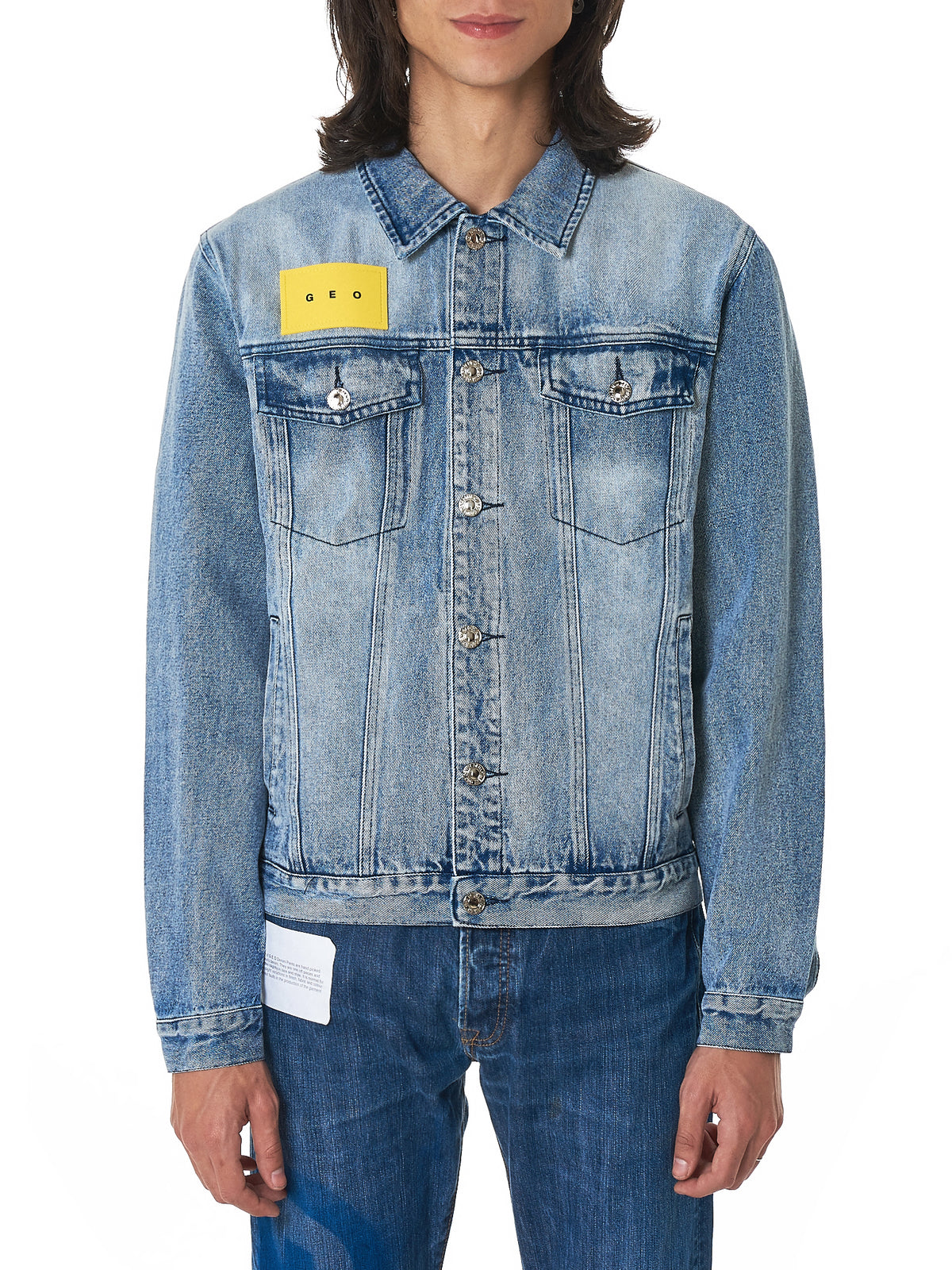 Geo Denim Jacket - Hlorenzo Front